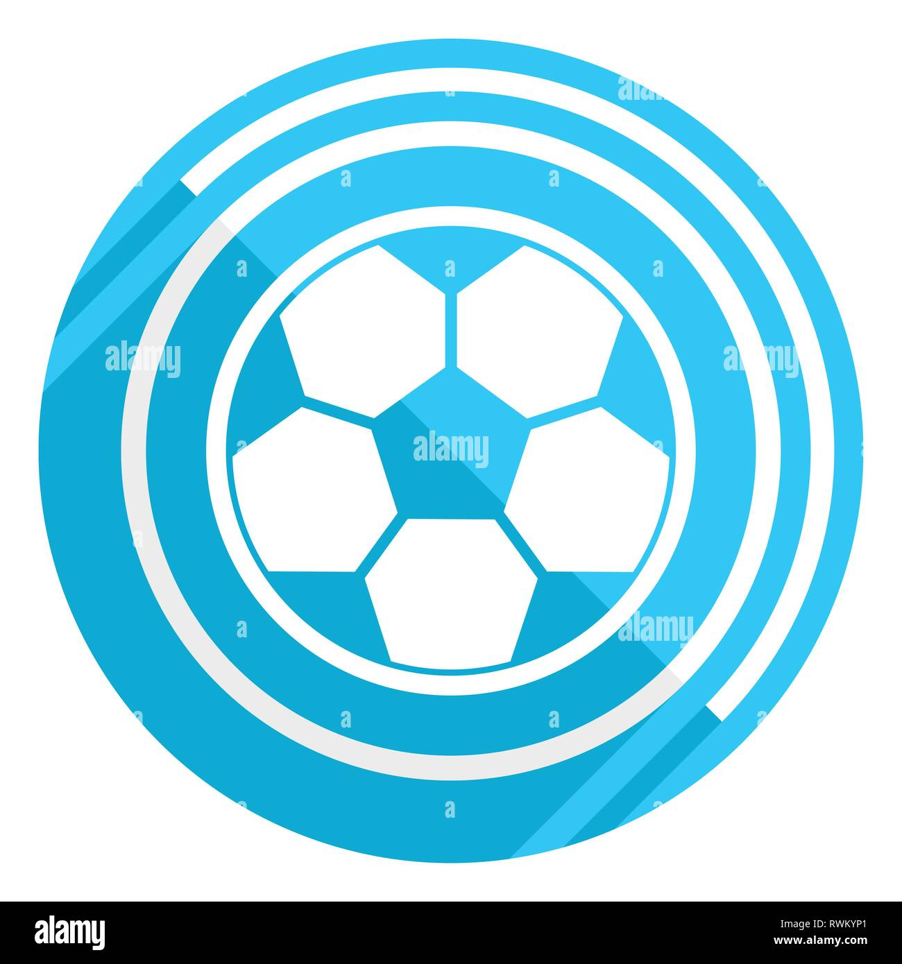 Soccer flat design blue web icon, easy to edit vector illustration for webdesign and mobile applications - Stock Vector