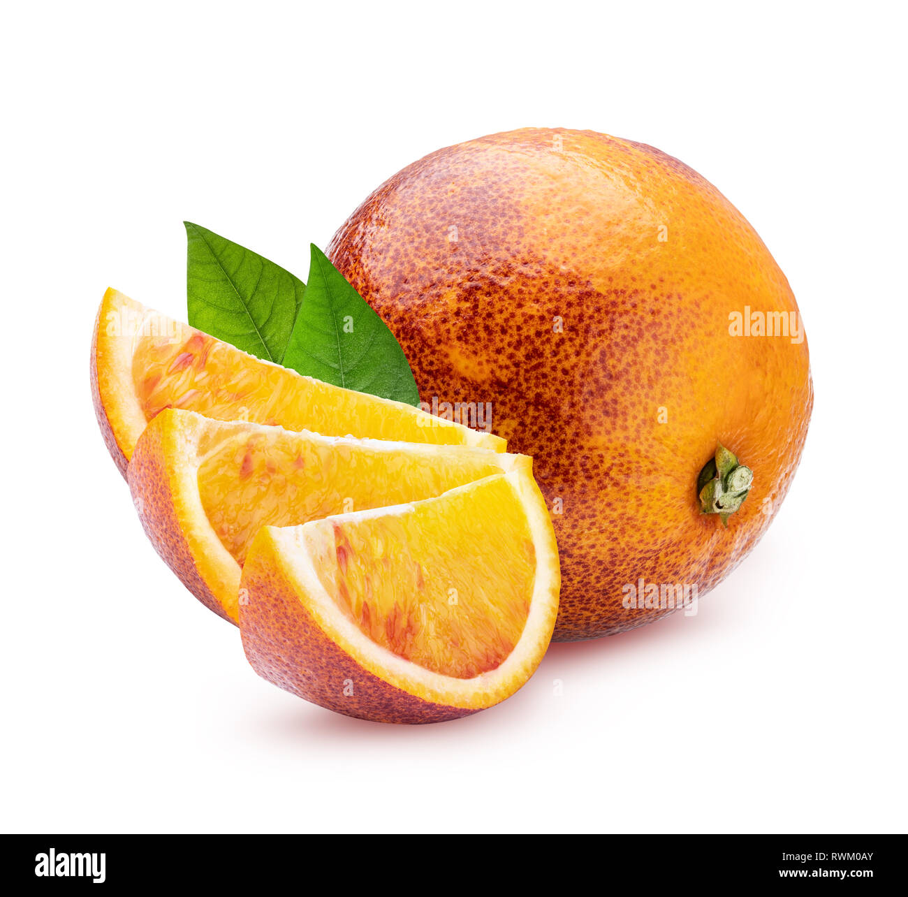 Red oranges isolated on white background. Clipping path - Stock Image