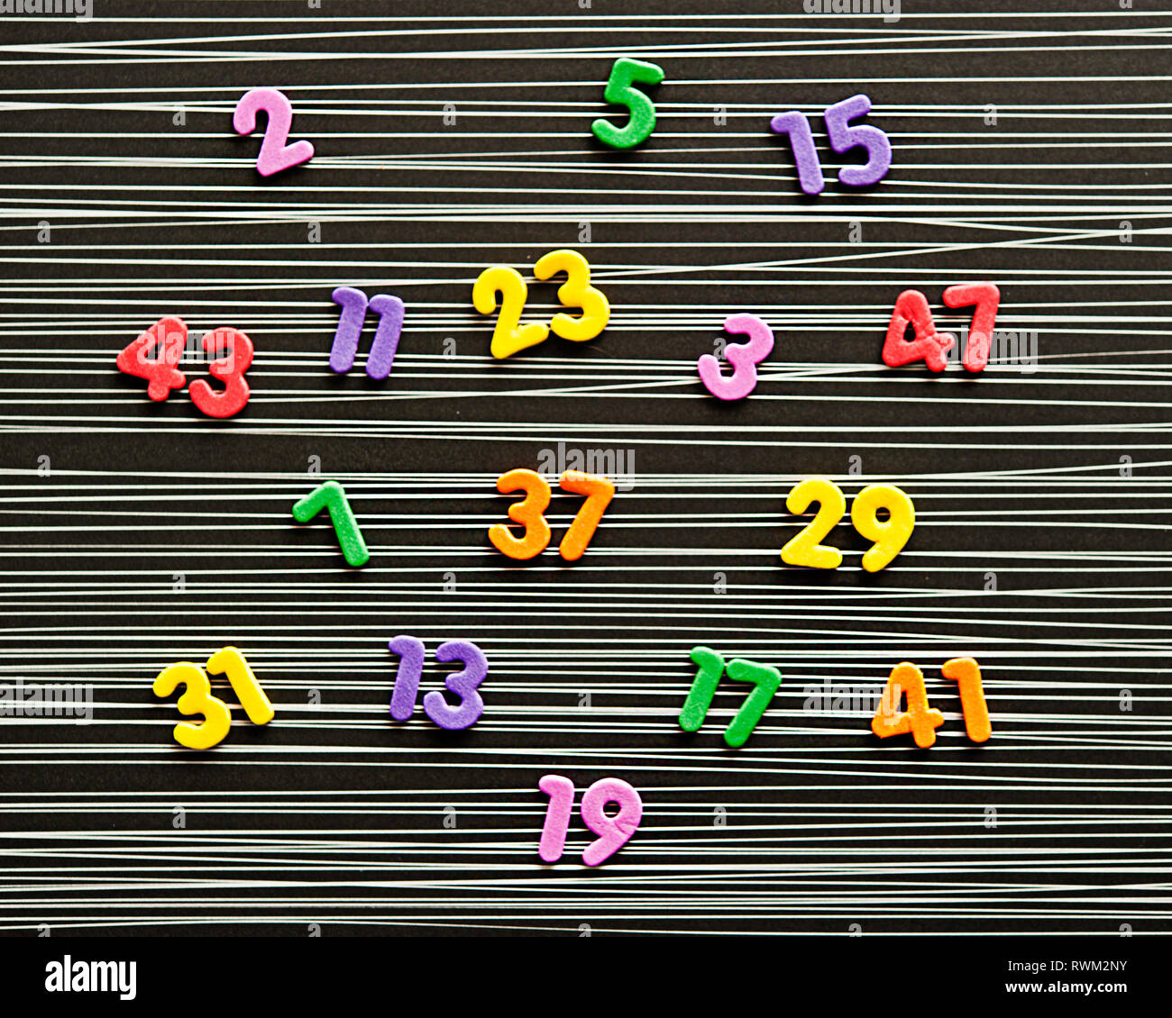all the prime numbers in the first 50 digits - Stock Image