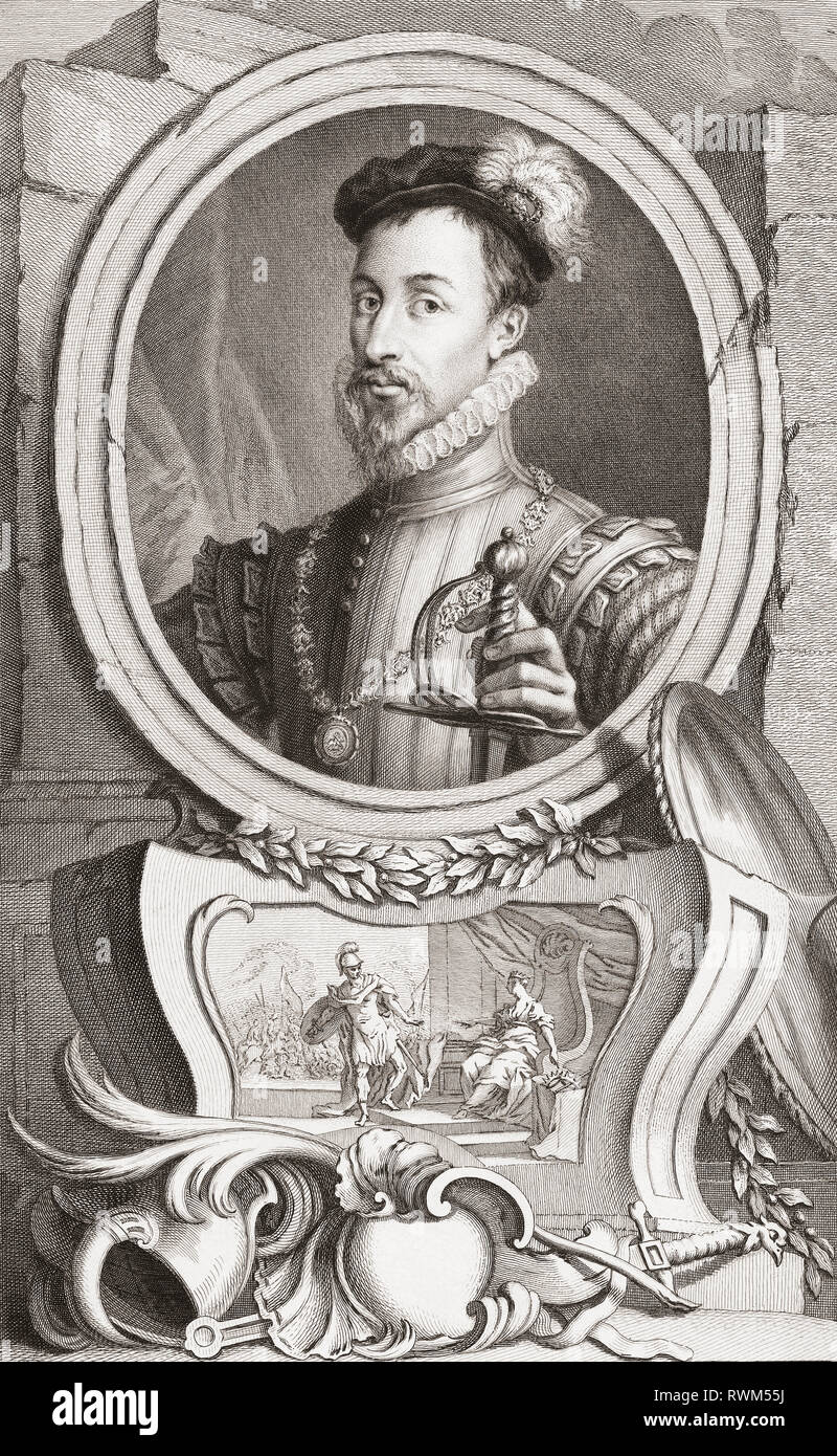 Robert Dudley, 1st Earl of Leicester, c.1532/1533-1588.  English nobleman, favourite and friend of Queen Elizabeth I.  From the 1813 edition of The Heads of Illustrious Persons of Great Britain, Engraved by Mr. Houbraken and Mr. Vertue With Their Lives and Characters. - Stock Image