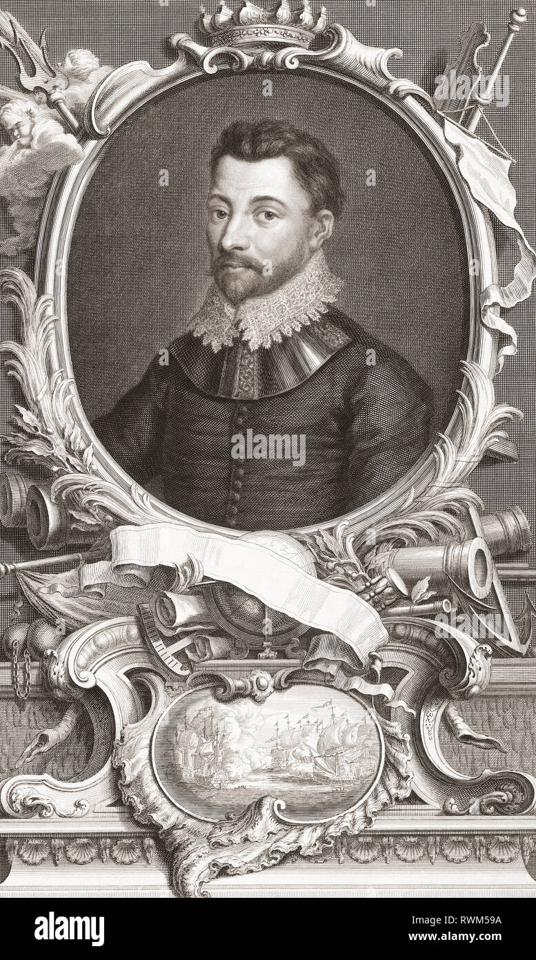 Sir Francis Drake,  c.1540 - 1596.  English sea captain, privateer, slave trader, naval officer and explorer of the Elizabethan era.  From the 1813 edition of The Heads of Illustrious Persons of Great Britain, Engraved by Mr. Houbraken and Mr. Vertue With Their Lives and Characters. - Stock Image