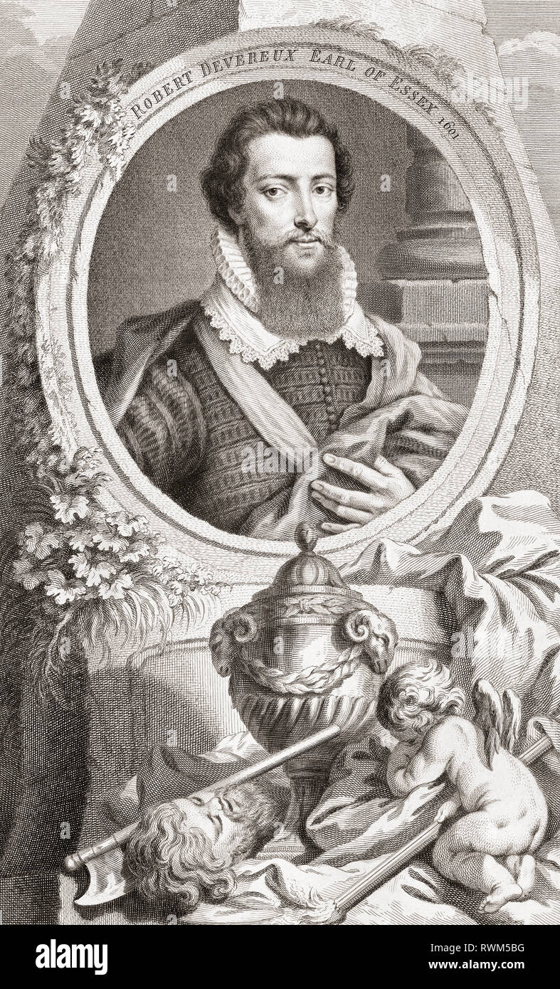 Robert Devereux, 2nd Earl of Essex, 1565-1601. English nobleman and a favourite of Elizabeth I.  From the 1813 edition of The Heads of Illustrious Persons of Great Britain, Engraved by Mr. Houbraken and Mr. Vertue With Their Lives and Characters. - Stock Image