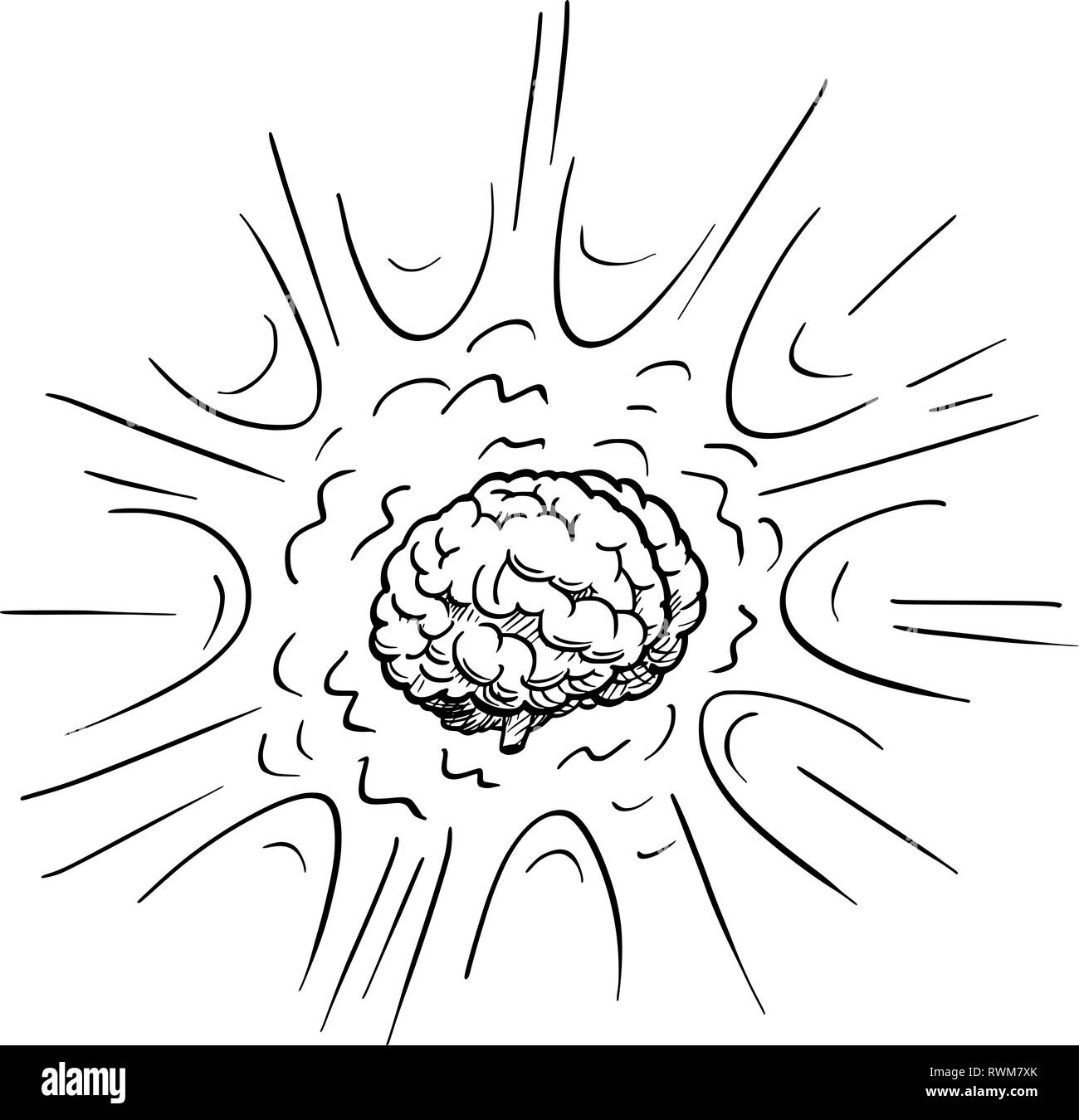 Cartoon Drawing of Excited Human Brain Explosion - Stock Image