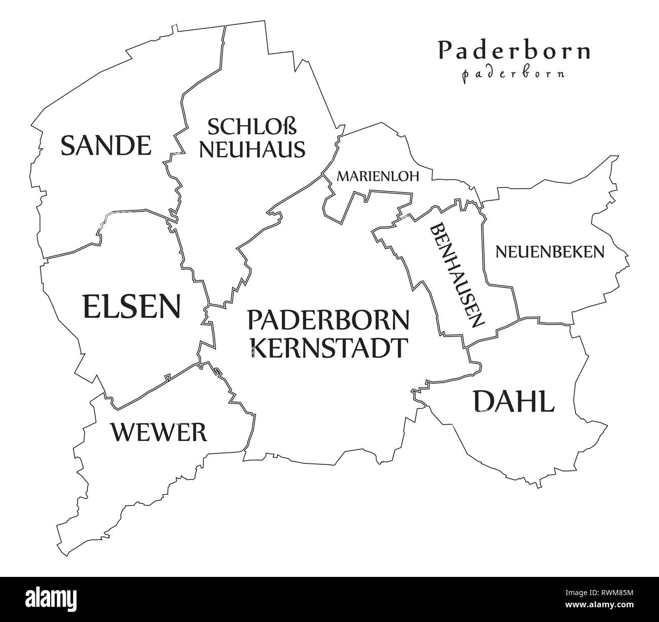 Outline Map Of Germany.Modern City Map Paderborn City Of Germany With Boroughs And Titles