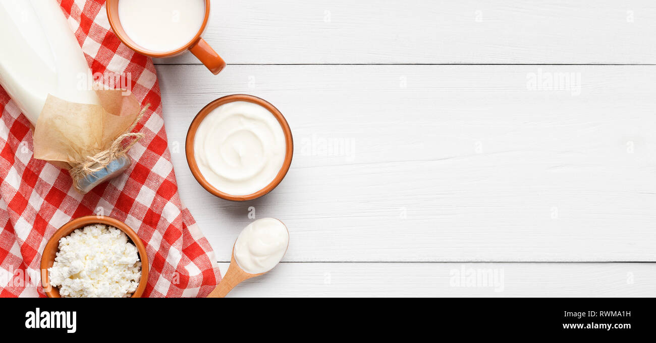 Dairy foods and beverages concept - Stock Image
