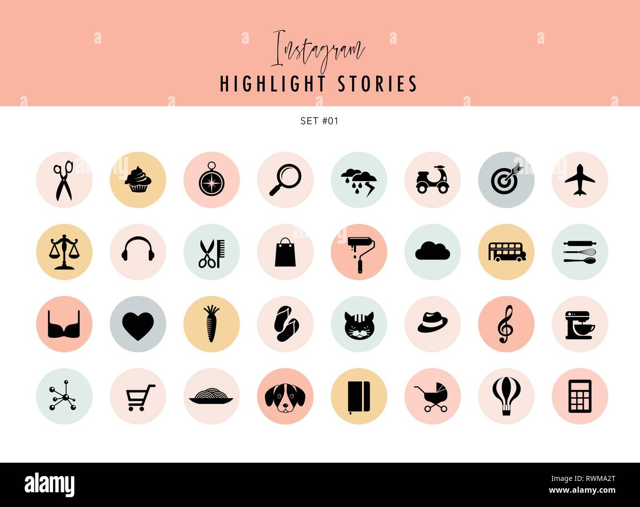 Instagram Highlights Stories Covers Icons Collection A Fully Editable Scalable Vector File Stock Vector Image Art Alamy