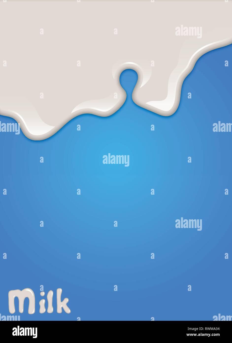 Realistic milk drop, splashes, liquid isolated on blue background