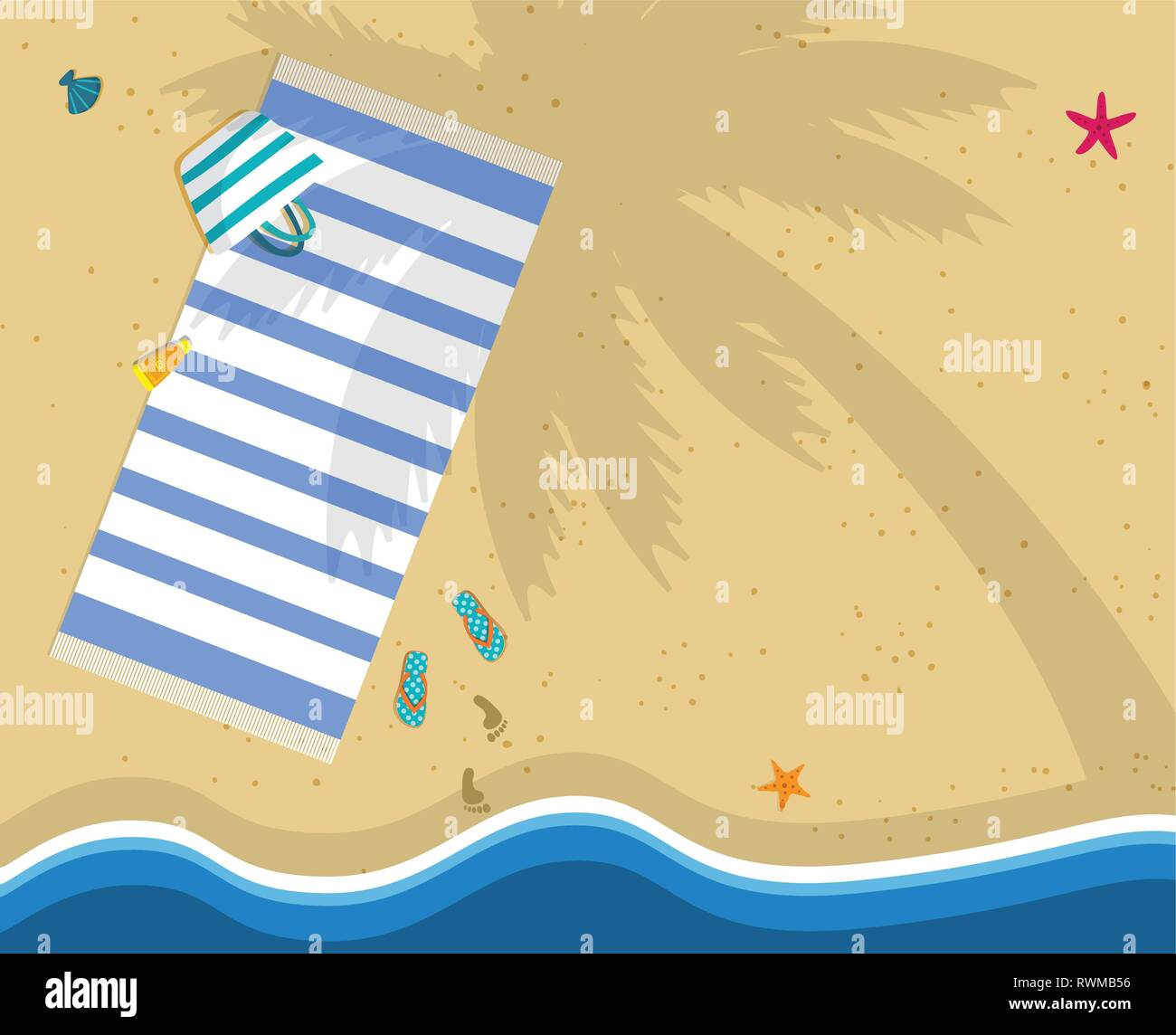 Summer Time Background with Copy Space. Top View of Sea Beach with Towel, Bag, Flip Flops and Footprints on Sand. Palm Tree Shadow on Seaside. Seashel - Stock Vector