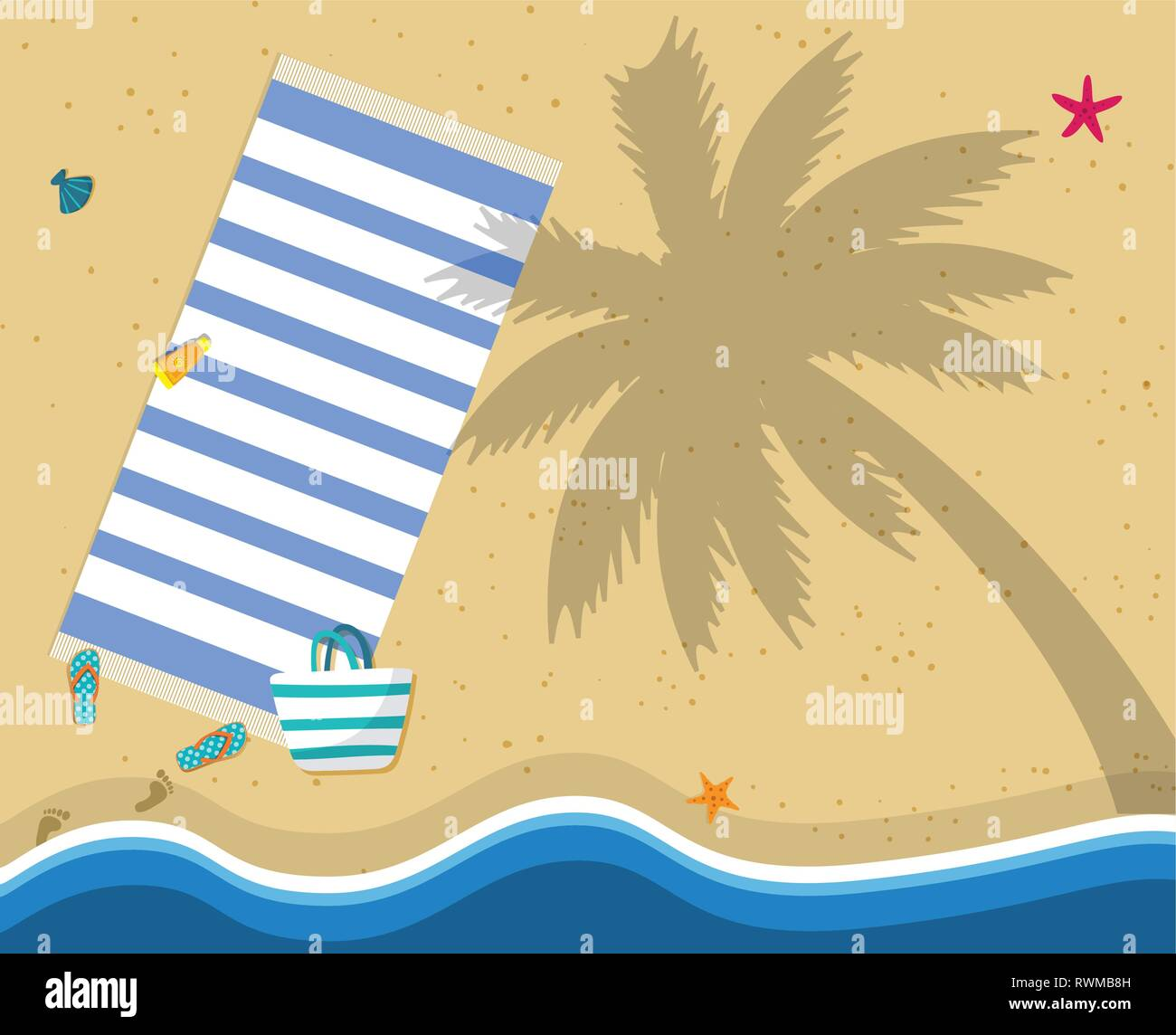 Summer Beach Vacation Holidays Poster, Wallpaper. Copy Space. Top View of Blue Ocean and Golden Sand Beach Shore with Towel, Palm Tree Shadow, Flip Fl - Stock Vector