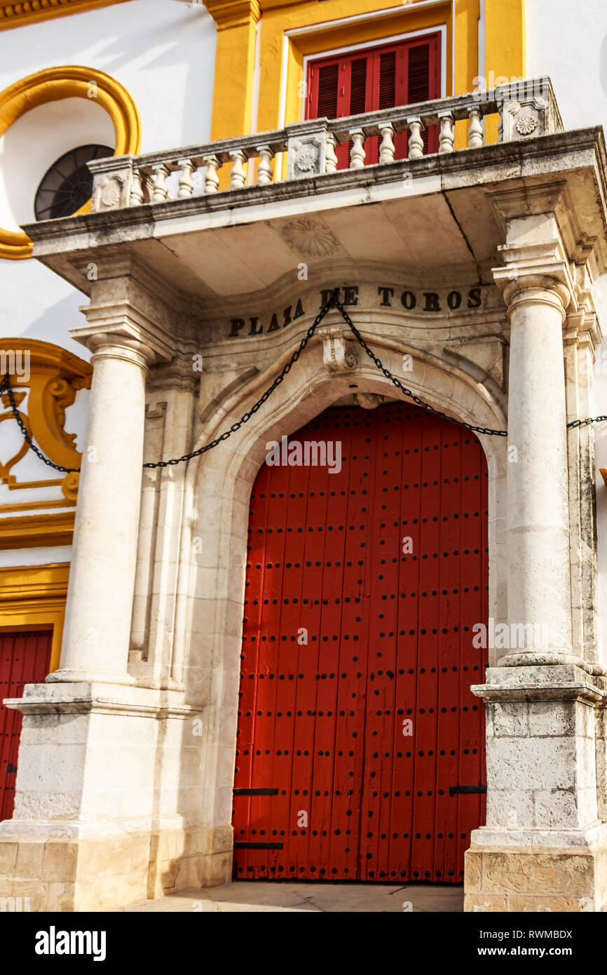 Seville, Spain - Dec 2018: Main entrance of Plaza de Toros de Sevilla - Stock Image