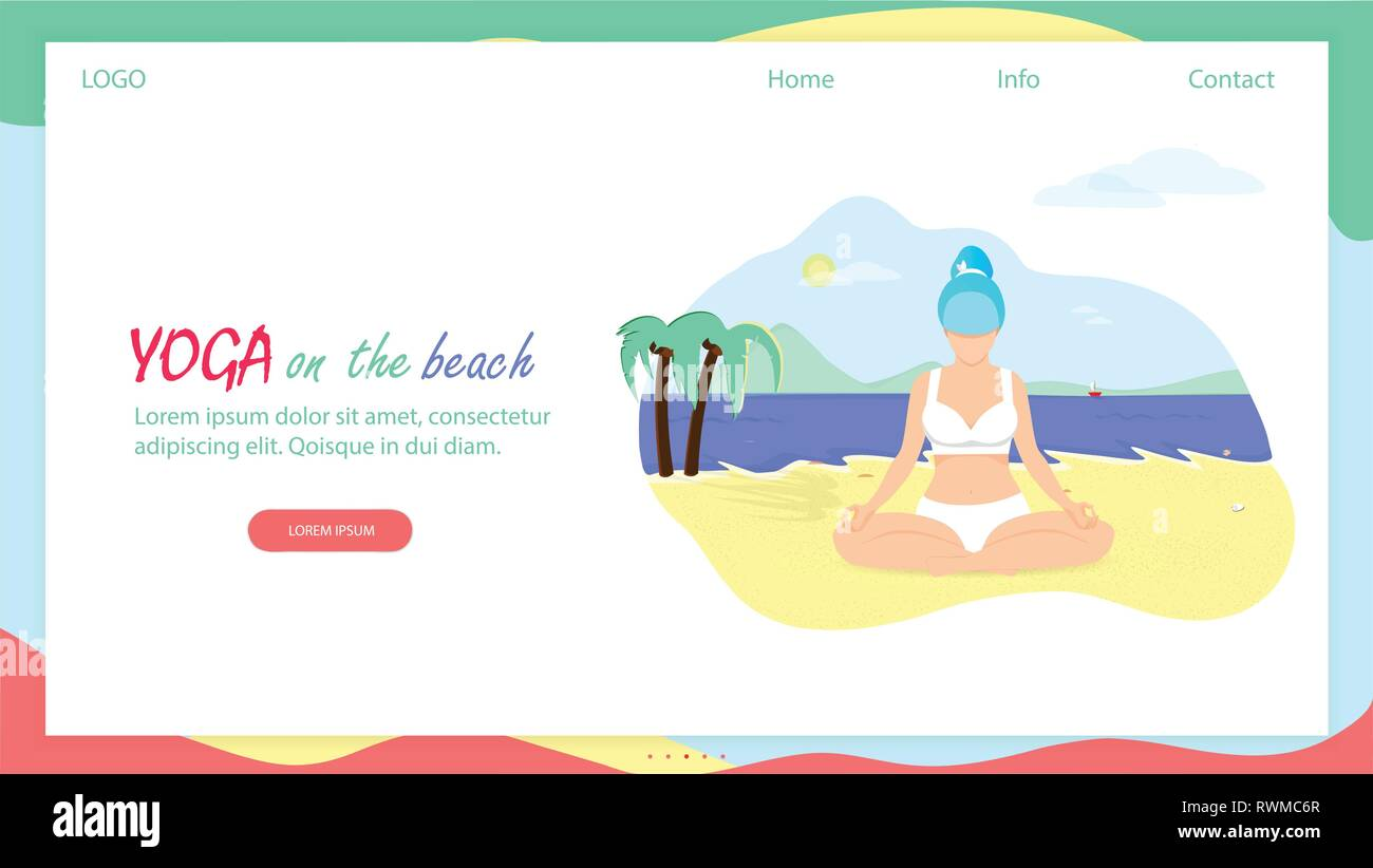 247c52bba4fd Yoga on the Beach Horizontal Banner with Copy Space. Curvy Flexible Sporty  Plus Size Young Woman Doing Asana on Nature. Girl in Lotus Position on Sea