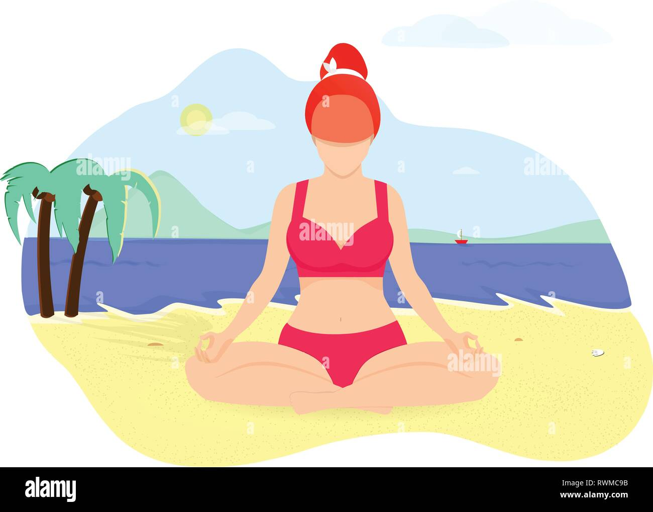 Curvy Flexible Sporty Ginger Woman Doing Yoga Asana on Seaside Beach Isolated on White Background. Girl in Red Bikini Sitting in Lotus Position on Sea - Stock Vector