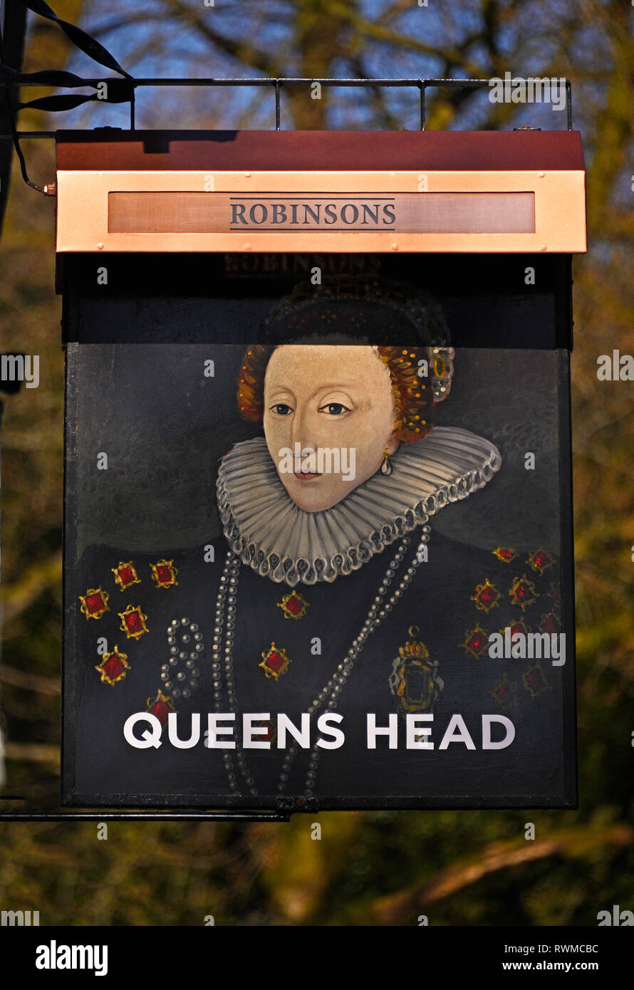 Inn sign. Queen's Head Hotel. Troutbeck, Windermere, Lake District National Park, Cumbria, England, United Kingdom, Europe. - Stock Image