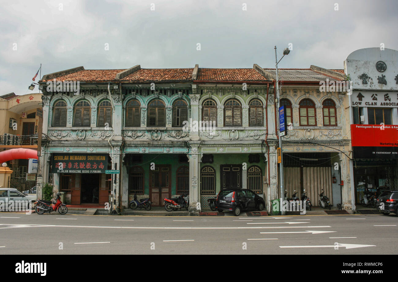 Traditional shophouses in Georgetown, Penang, Malaysia - Stock Image