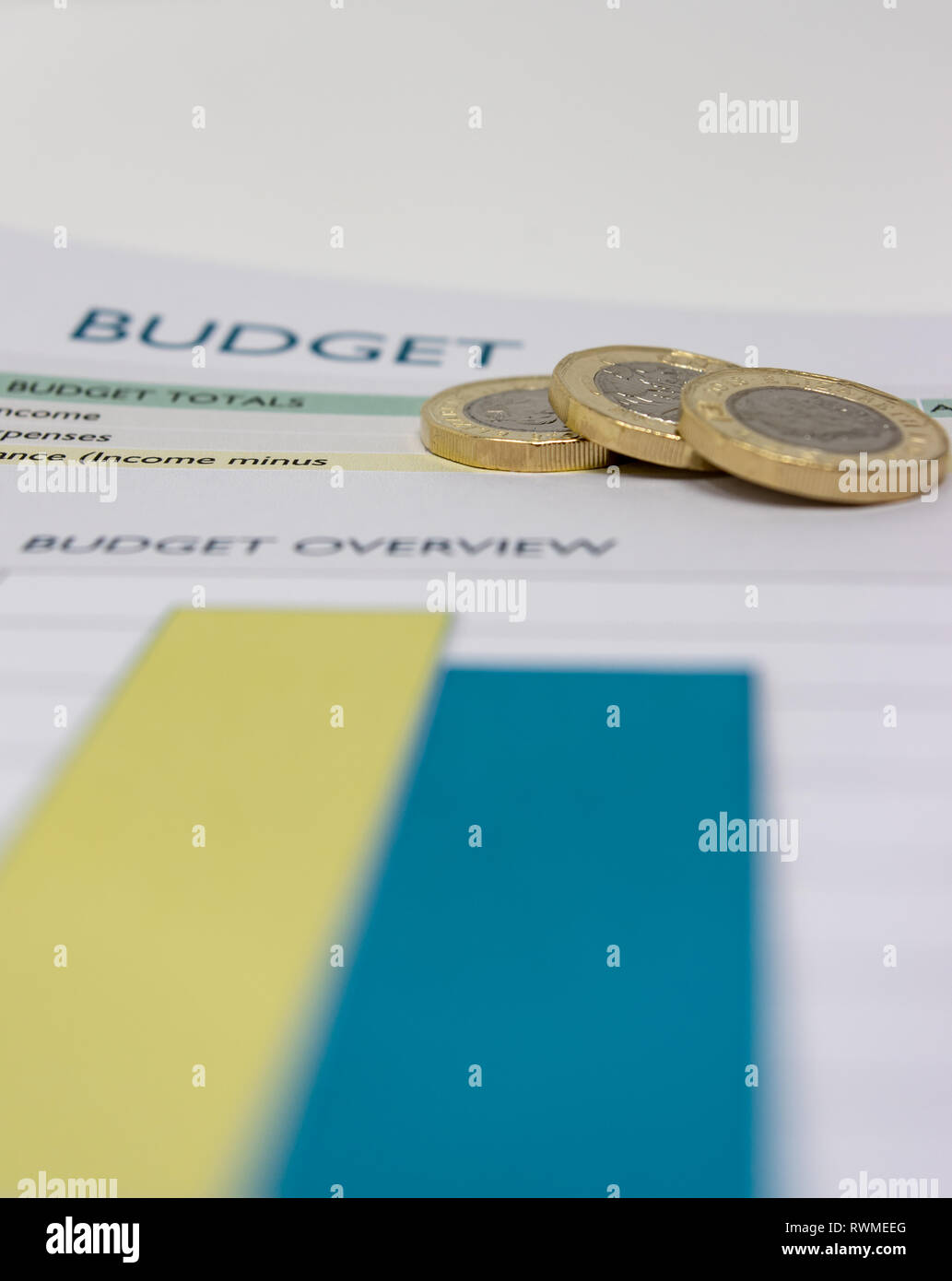 Budget sheet with pound coins on top. - Stock Image