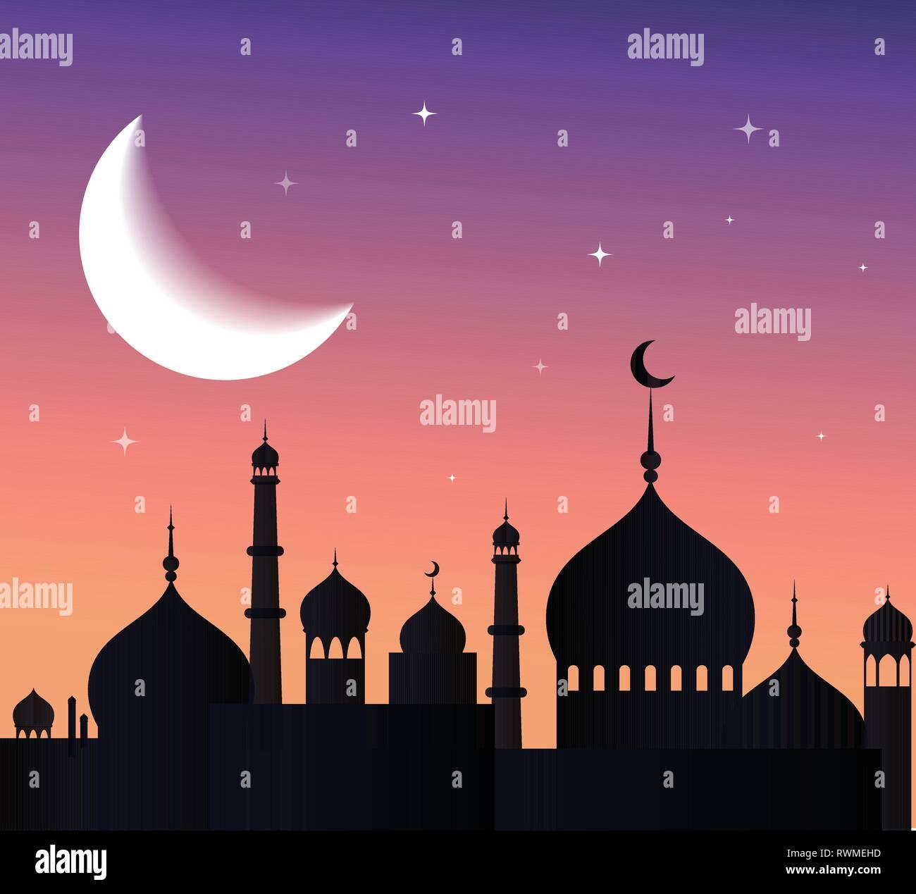 Ramadan kareem greeting card and banner  Islamic lantern on moon abd