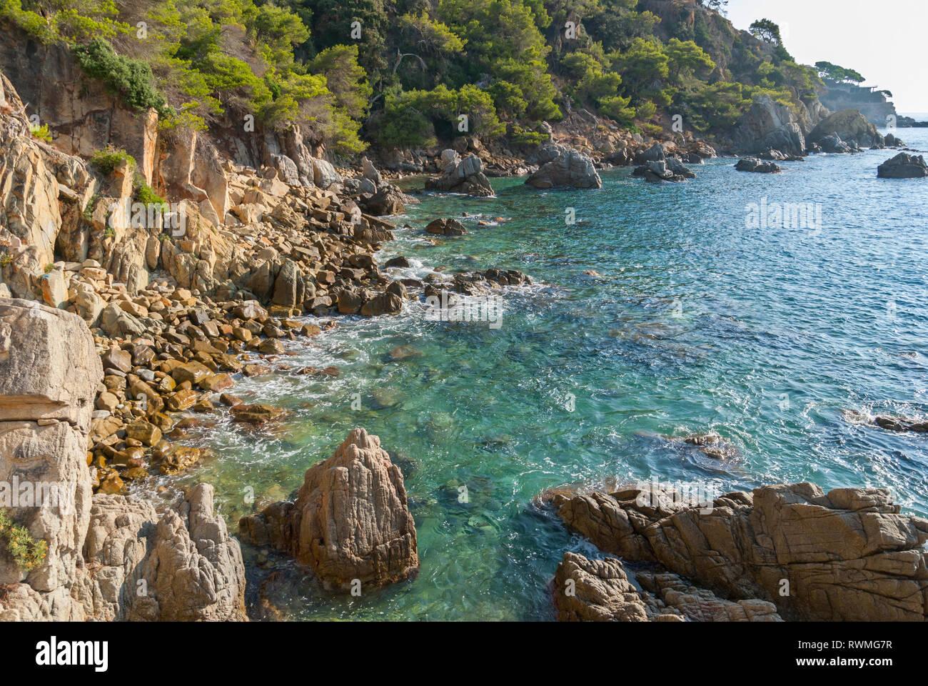 Platja Fenals Fanals Beach in Lloret de Mar at Costa Brava of Catalonia Girona Spain - Stock Image
