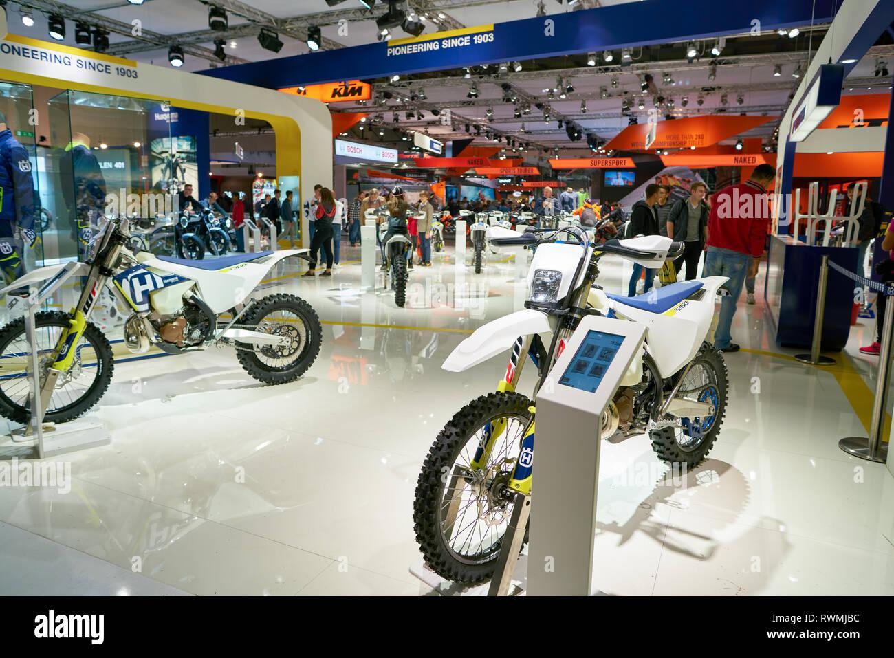 MILAN, ITALY - NOVEMBER 11, 2017: motorcycles on display at EICMA 2017 - 75th International Motorcycle Exhibition - Stock Image