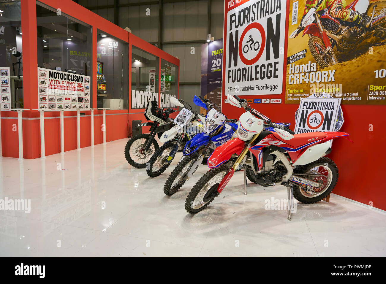 MILAN, ITALY - NOVEMBER 11, 2017: motorcycles on display at EICMA 2017 - 75th International Motorcycle Exhibition - Stock Image