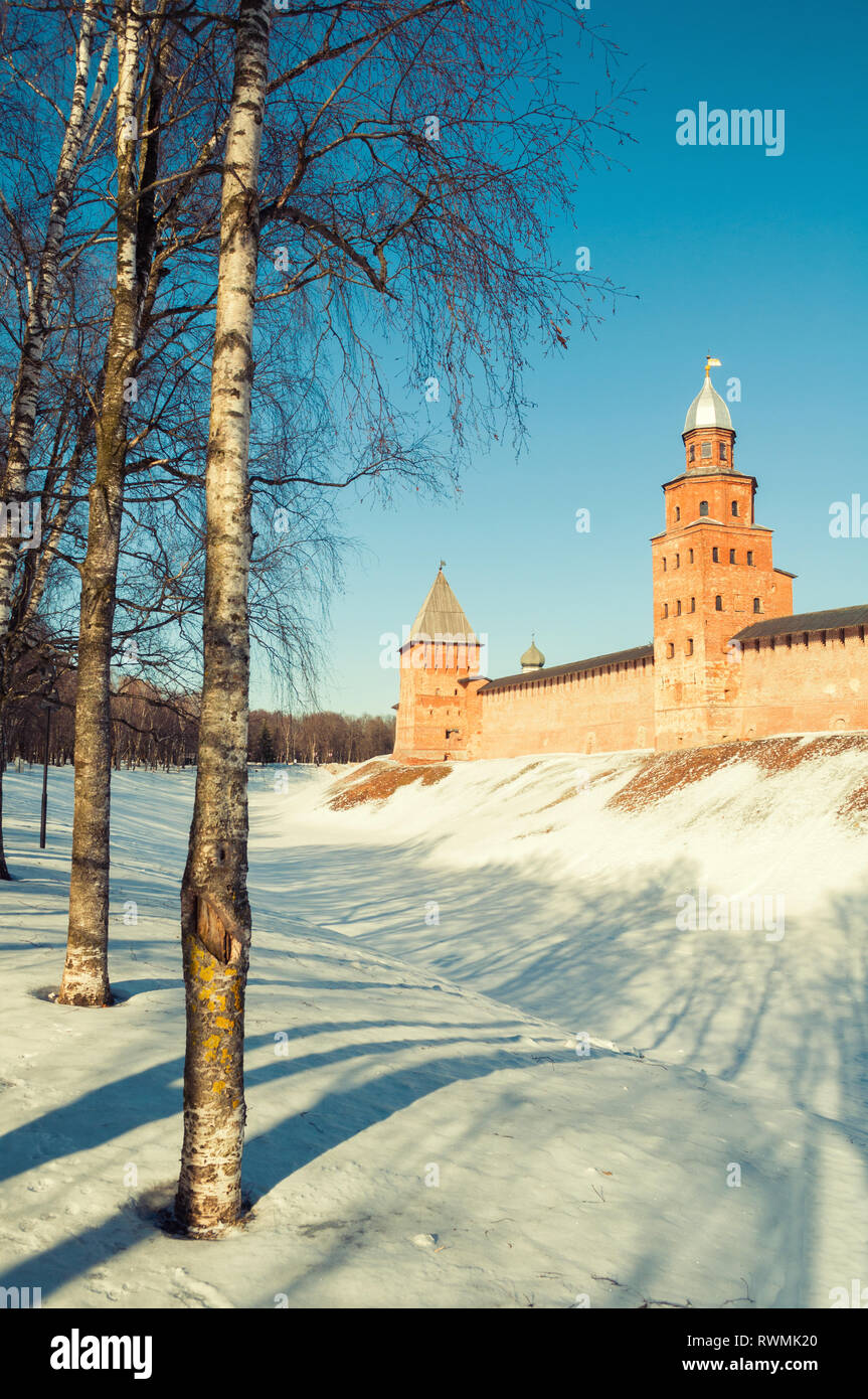 Veliky Novgorod Kremlin towers in winter day in Veliky Novgorod, Russia, vintage tones applied - Stock Image