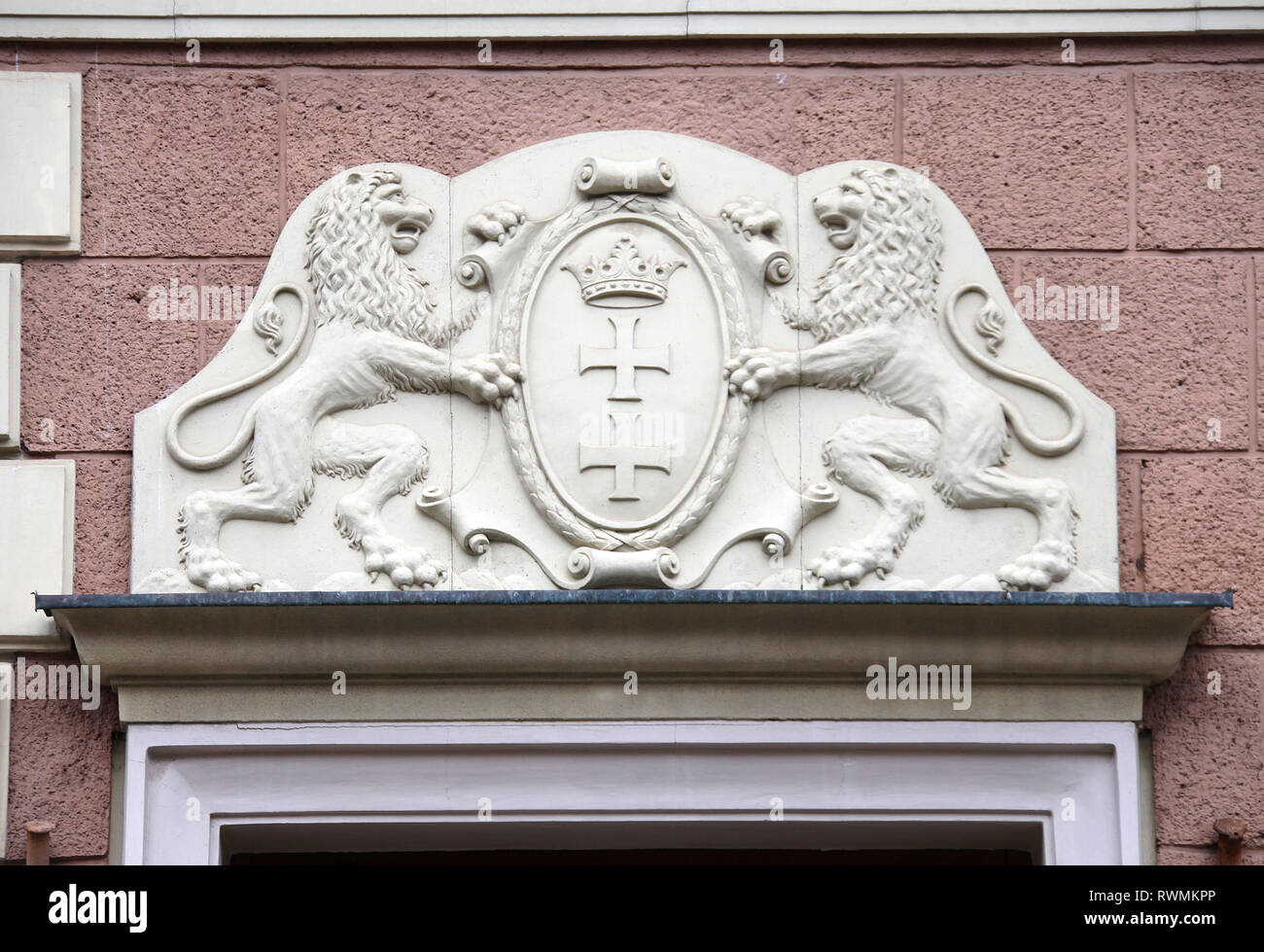 Gdansk Coat of Arms on a building at Dluga Street in the city centre Stock Photo