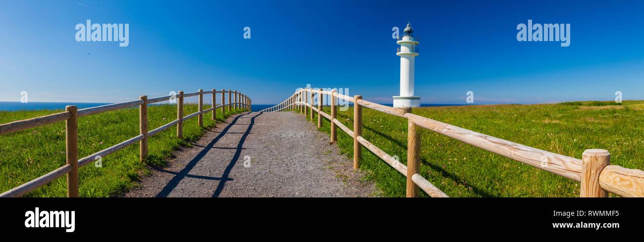Ajo Lighthouse, Cantabrian Sea, Cantabria, Spain, Europe Stock Photo