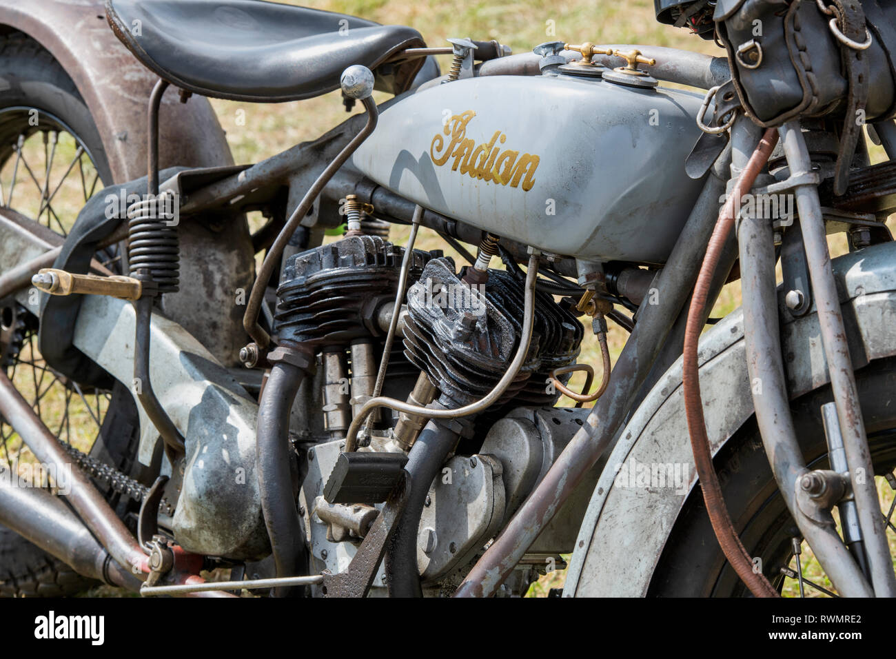 1928 Indian 101 Scout motorcycle. Classic American motorcycle - Stock Image