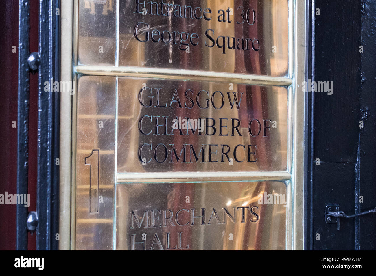 plaque at the Glasgow Chamber of Commerce, George Square, (West George Street entrance sign), Glasgow, Scotland, UK - Stock Image