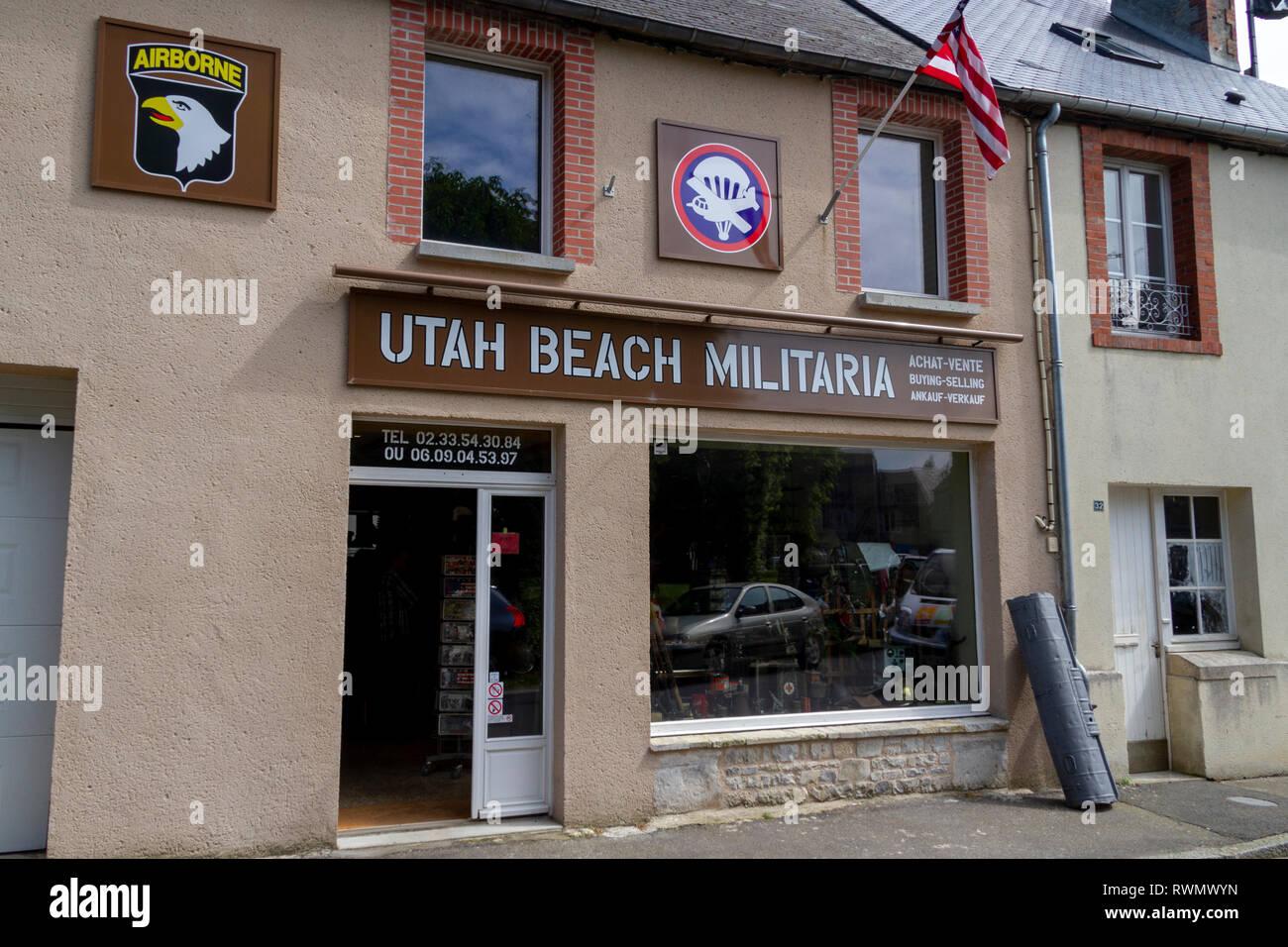 Utah Beach Militaria shop (World War Two military souvenirs) in