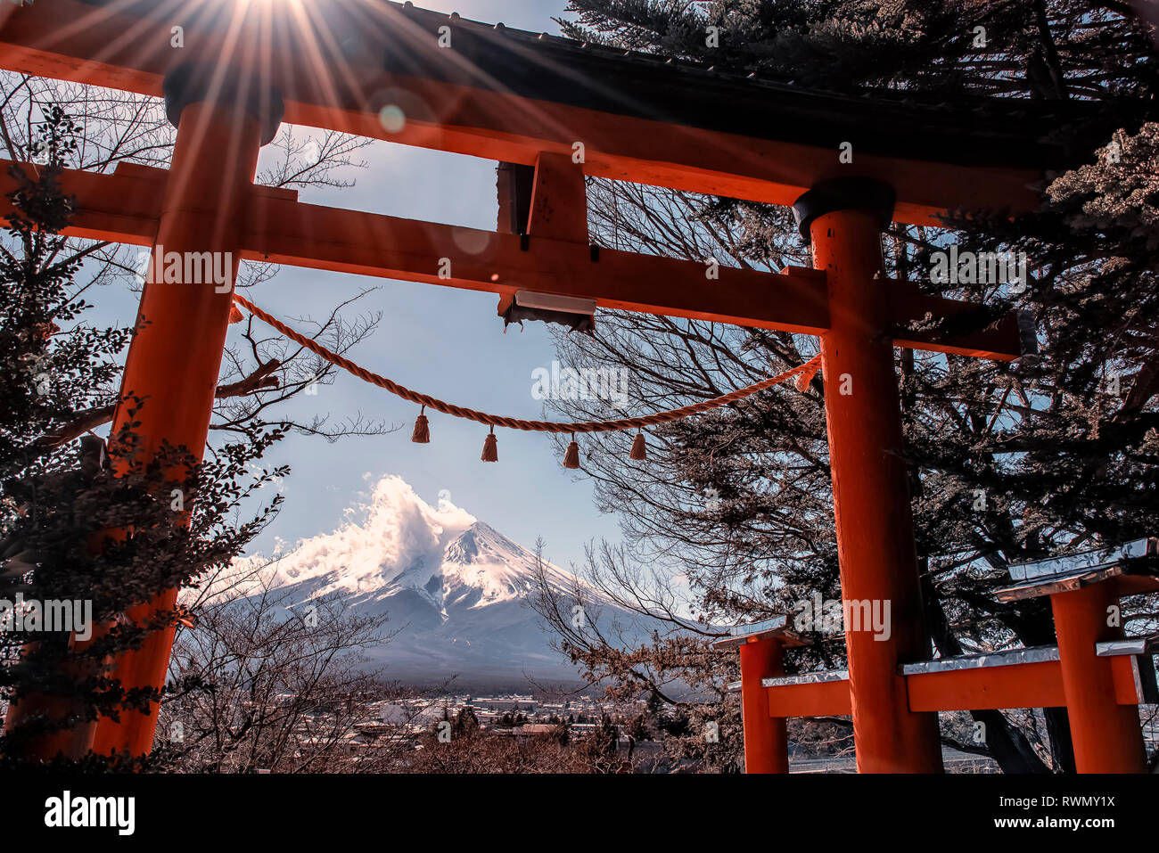 On the way to Chureito pagoda. View of the mount Fuji in daytime Stock Photo