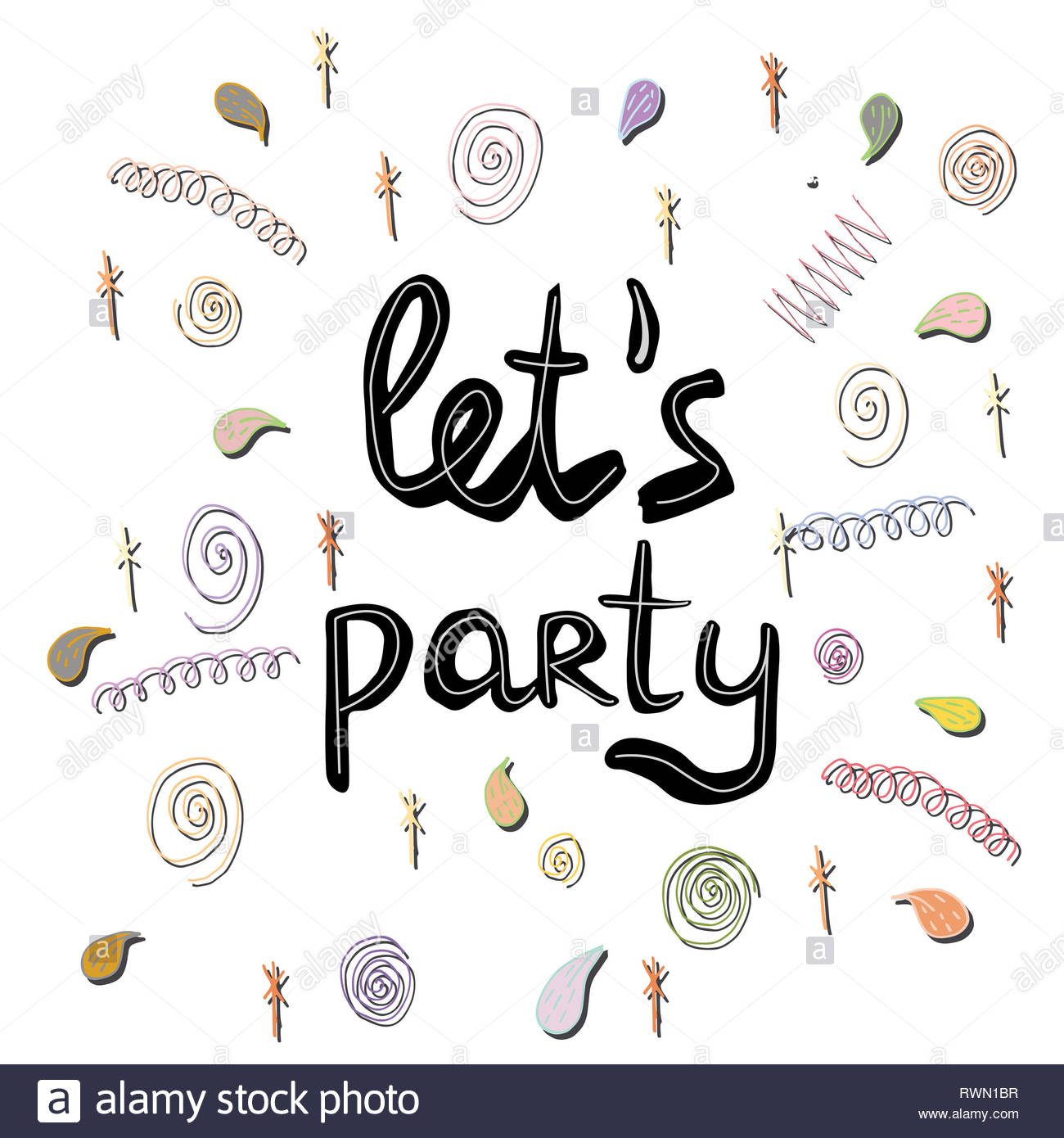 Let s party black note. Handwritten phrase. White background with doodle elements. Ink brush sketch lettering for party banners, posters. T-shirt, pos - Stock Image