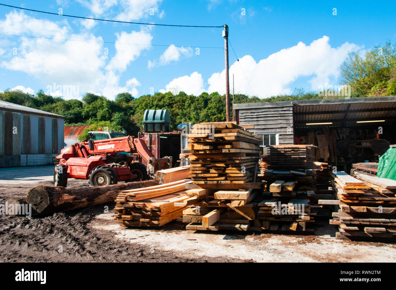 Forklift and lengths of timber stacked - Stock Image