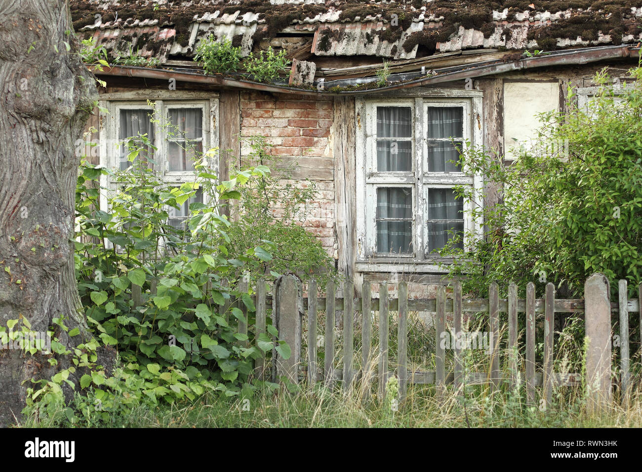 Dilapidated half-timbered house in the Uckermark - Stock Image