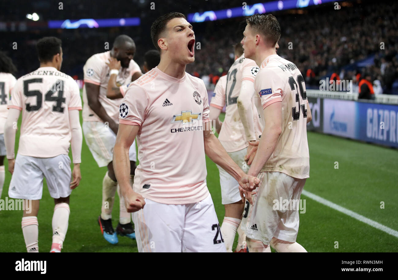 Manchester United S Diogo Dalot Celebrates After Marcus Rashford Not Pictured Scores His Side S Third Goal Of The Game During The Uefa Champions League Match At The Parc Des Princes Paris France Stock