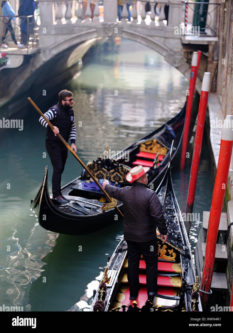 f5d63f8b970 Gondola   Gondolier Grand Canal Venice Italy Flat bottomed venetian rowing  boat - Stock Image