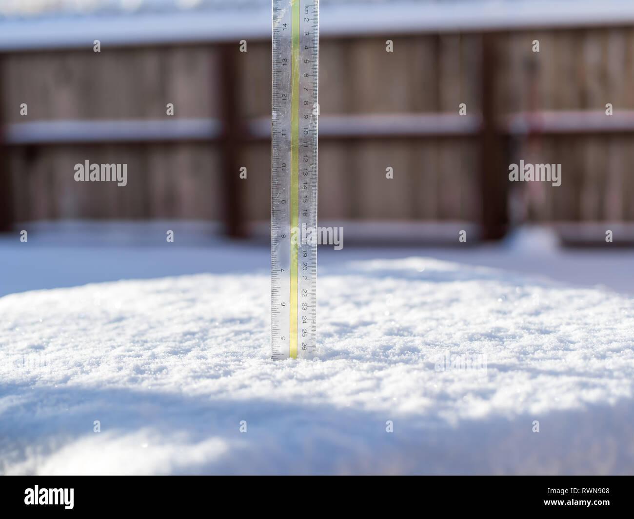 Plastic ruler measuring the depth of freshly fallen snow. - Stock Image