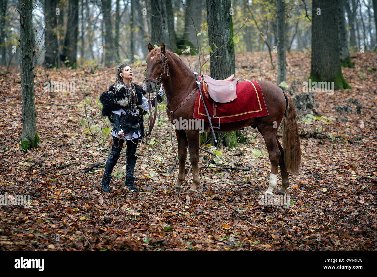 Warrior Beauty With Her Horse In The Woods Viking Woman Reconstruction Of A Medieval War Scene In The Woods In Autumn Stock Photo Alamy