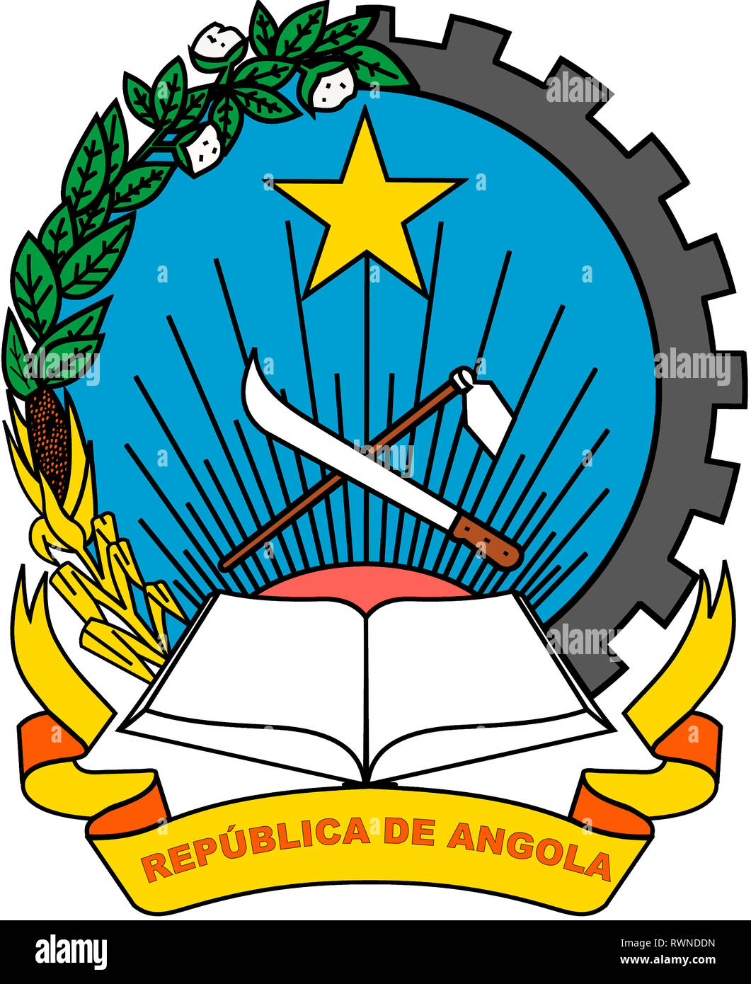 National coat o arms of the Republic of Angola. - Stock Image