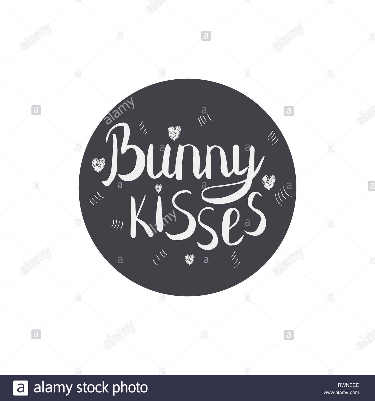 Bunny kisses calligraphy  Circle with hand lettering  Ink sketch
