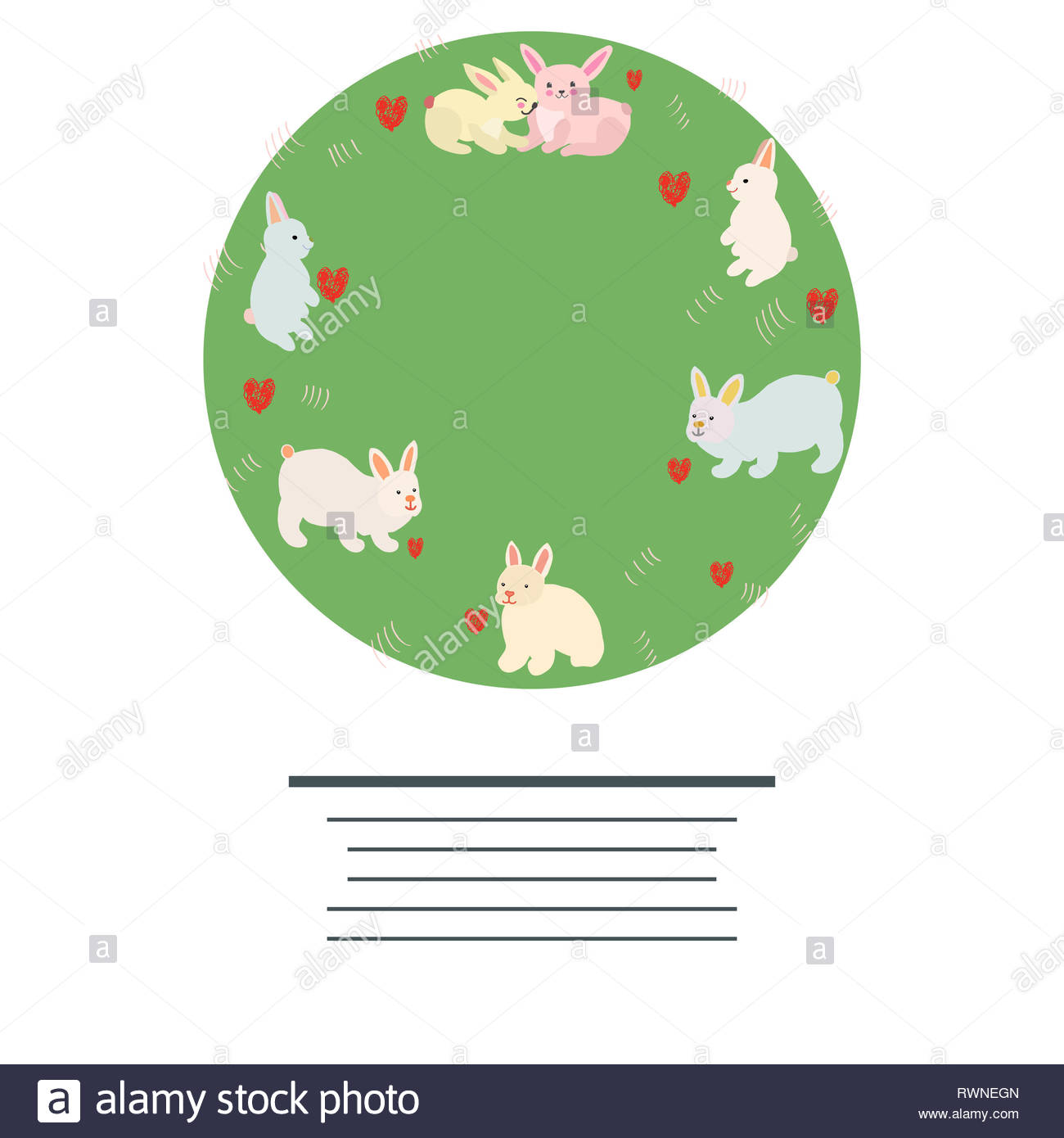 Cirlce with cute bunnies and red hearts. Space for your text. Flat style design. Poster vector design. Vector illustration. - Stock Image