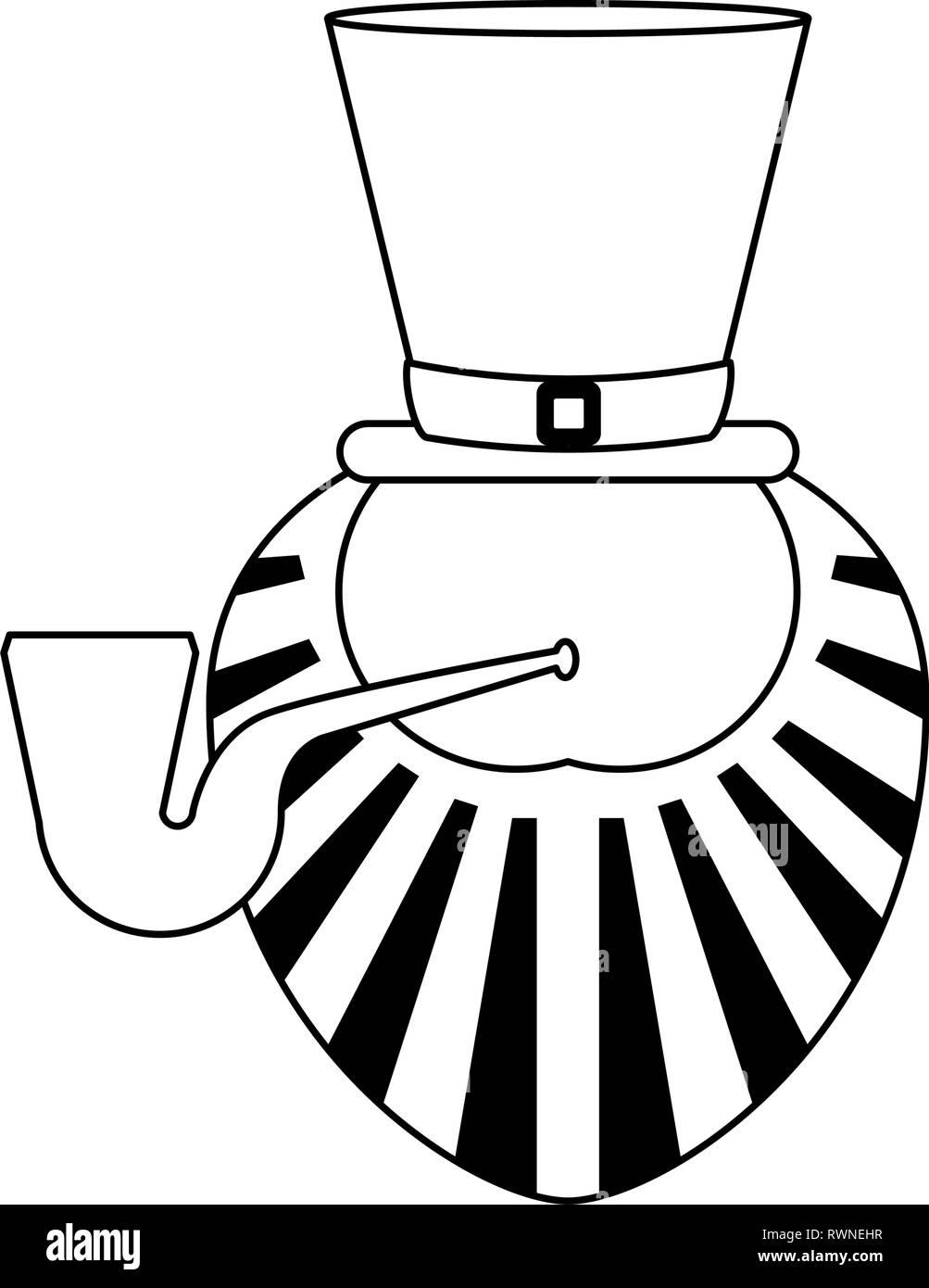 Saint patricks day cartoons black and white - Stock Image