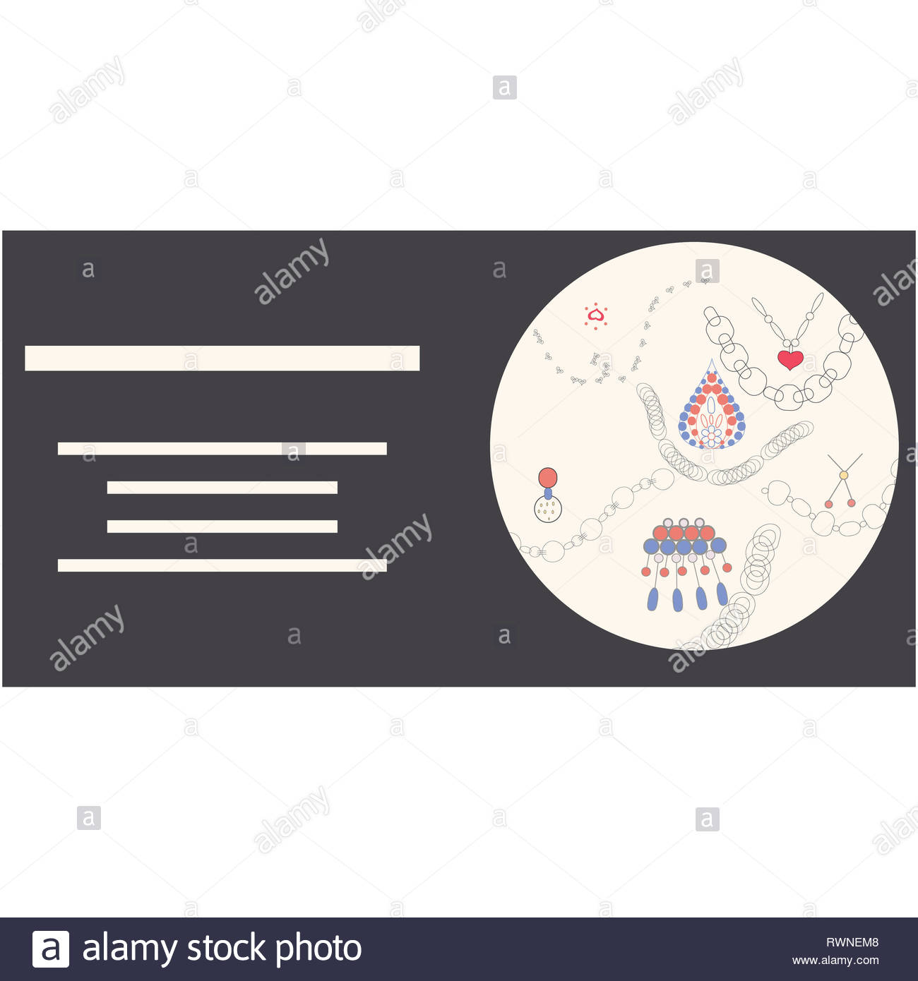 Cirlce with jewellery illustration hand drawn. Spacce for your text.Poster, banner vector design, greeting cards, jewellery store advertisements. Vect - Stock Image