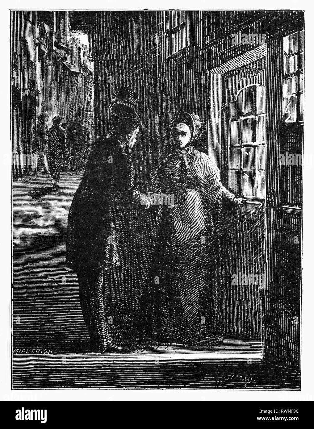 Hildebrand escorts a young woman, Suzette Noire, to her home in Haarlem, the Netherlands. From the Camera Obscura, a collection of Dutch humorous-realistic essays, stories and sketches in which Hildebrand, the author, takes an ironic look at the behavior of the 'well-to-do', finding  them bourgeois and without a good word for them. - Stock Image