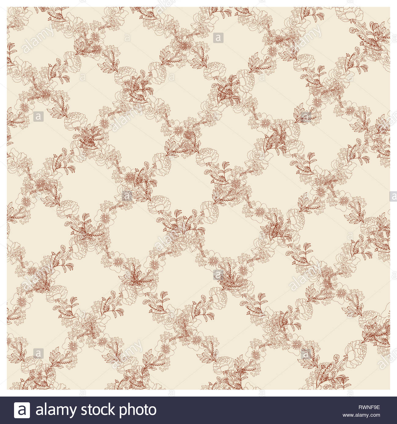 Seamless rose pattern of rhombuses  Geometric background