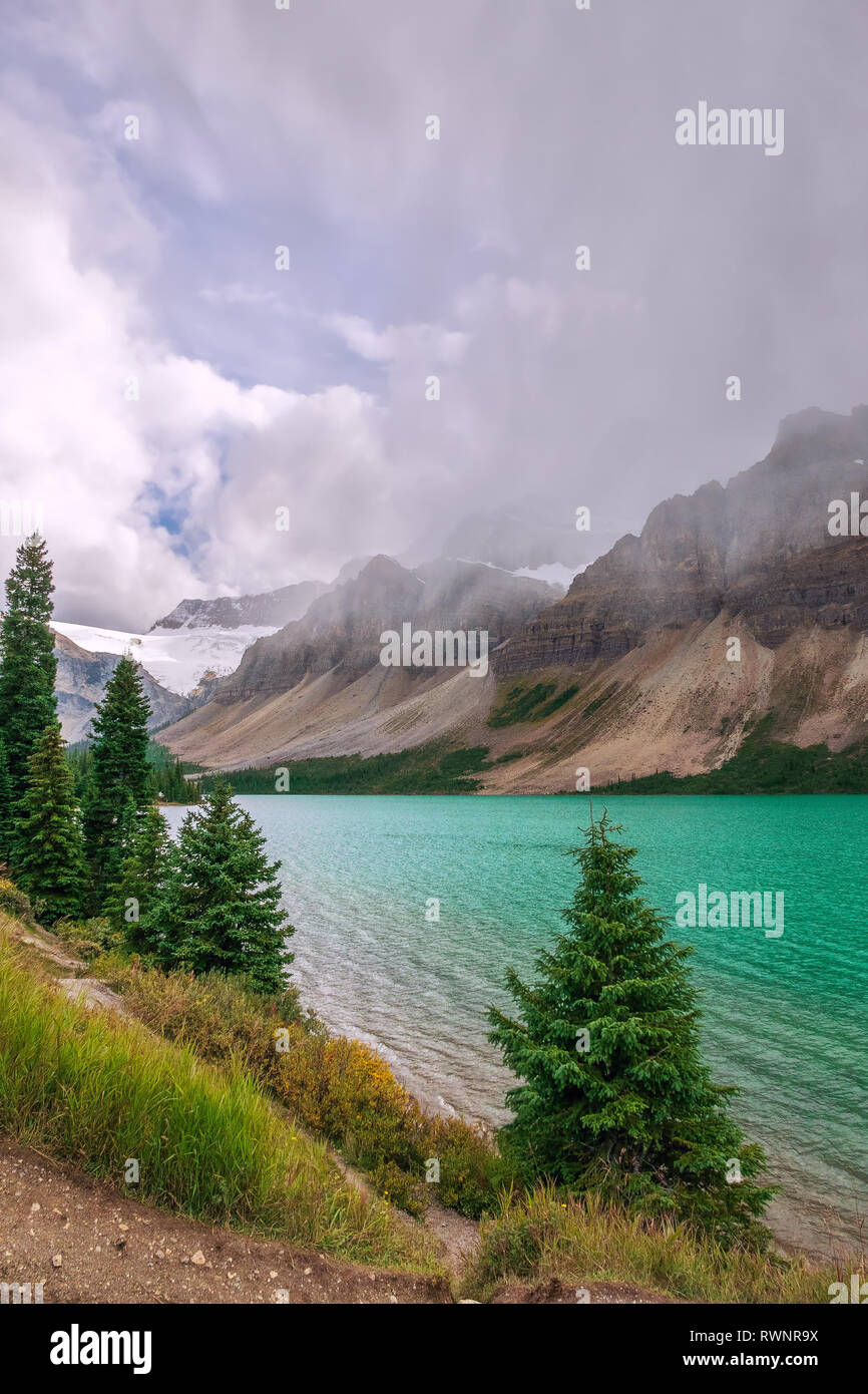 Bow lake in Banff National Park just before the rain. Alberta. Canada - Stock Image