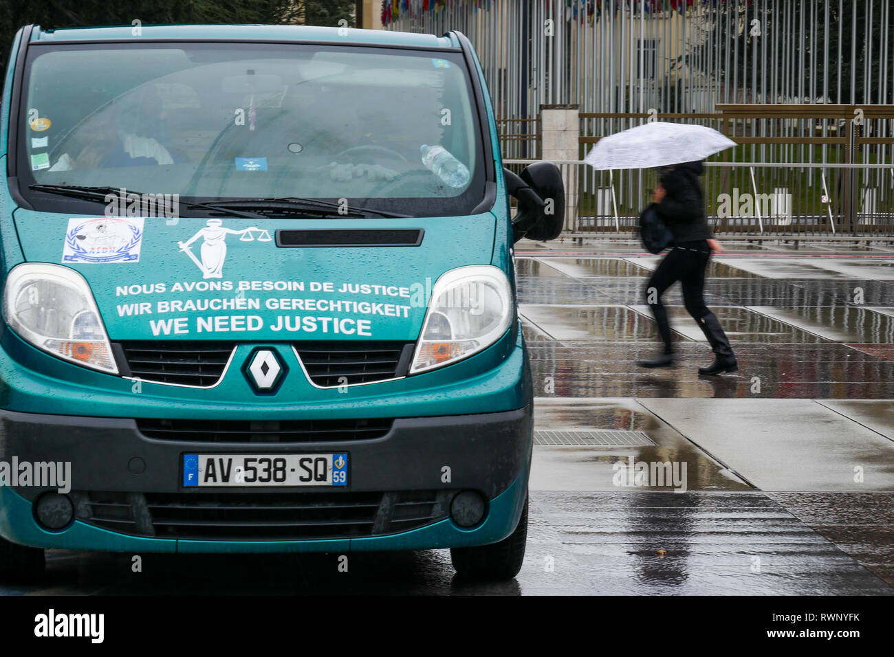 Protest against human rights violation, Nation square, Geneva, Swiss - Stock Image