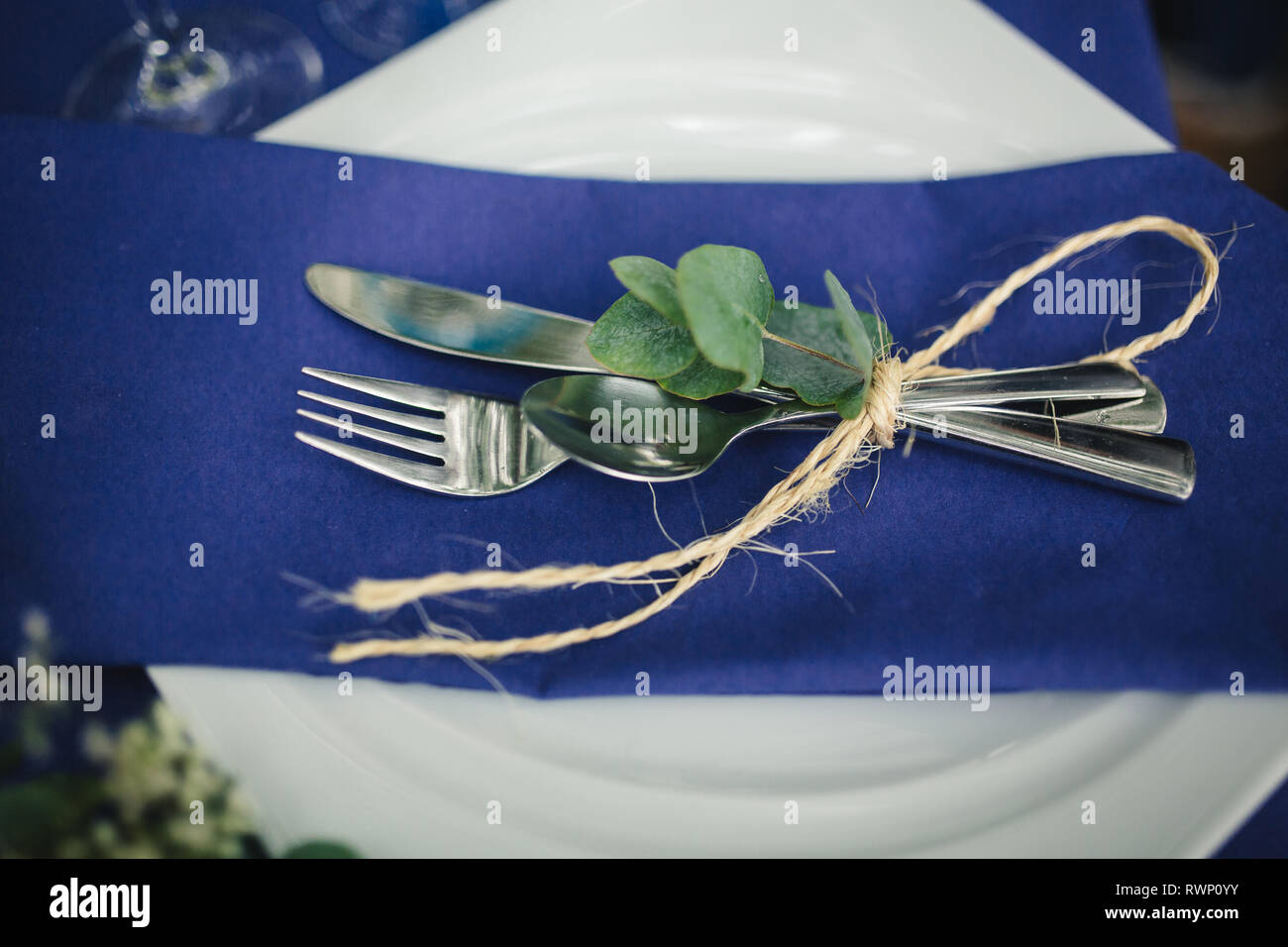 Details Composition Wedding Decorations In Blue Tones On