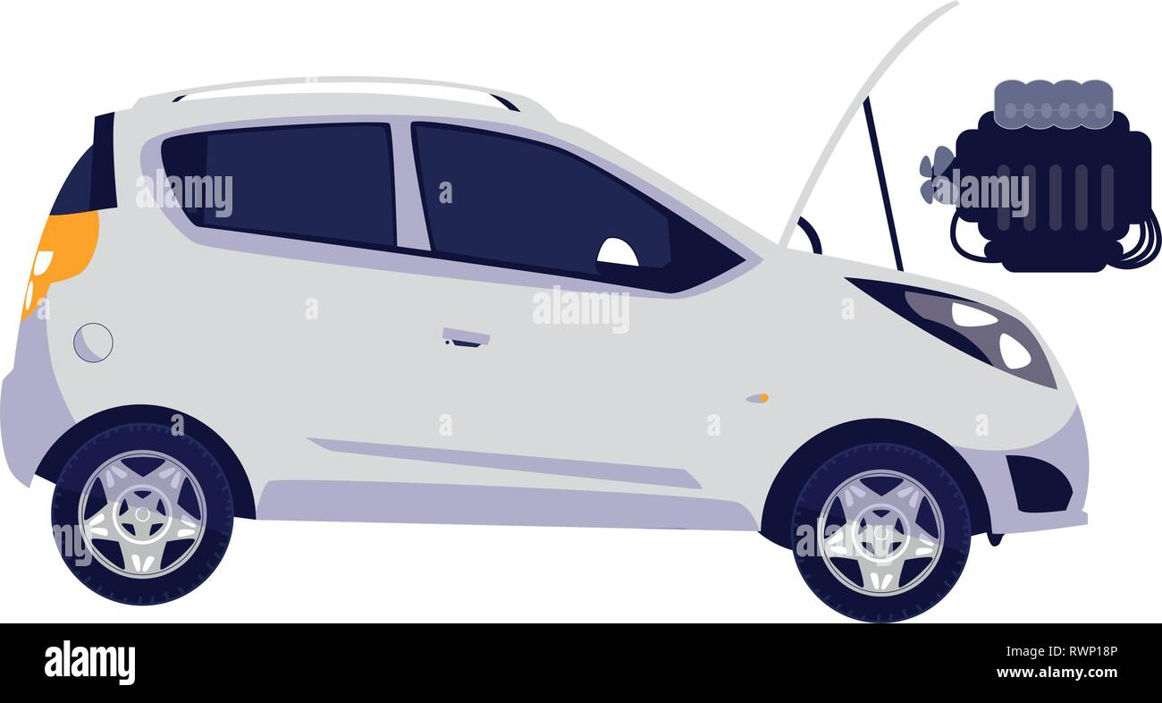 car vehicle with engine out in mechanical workshop vector illustration design - Stock Vector