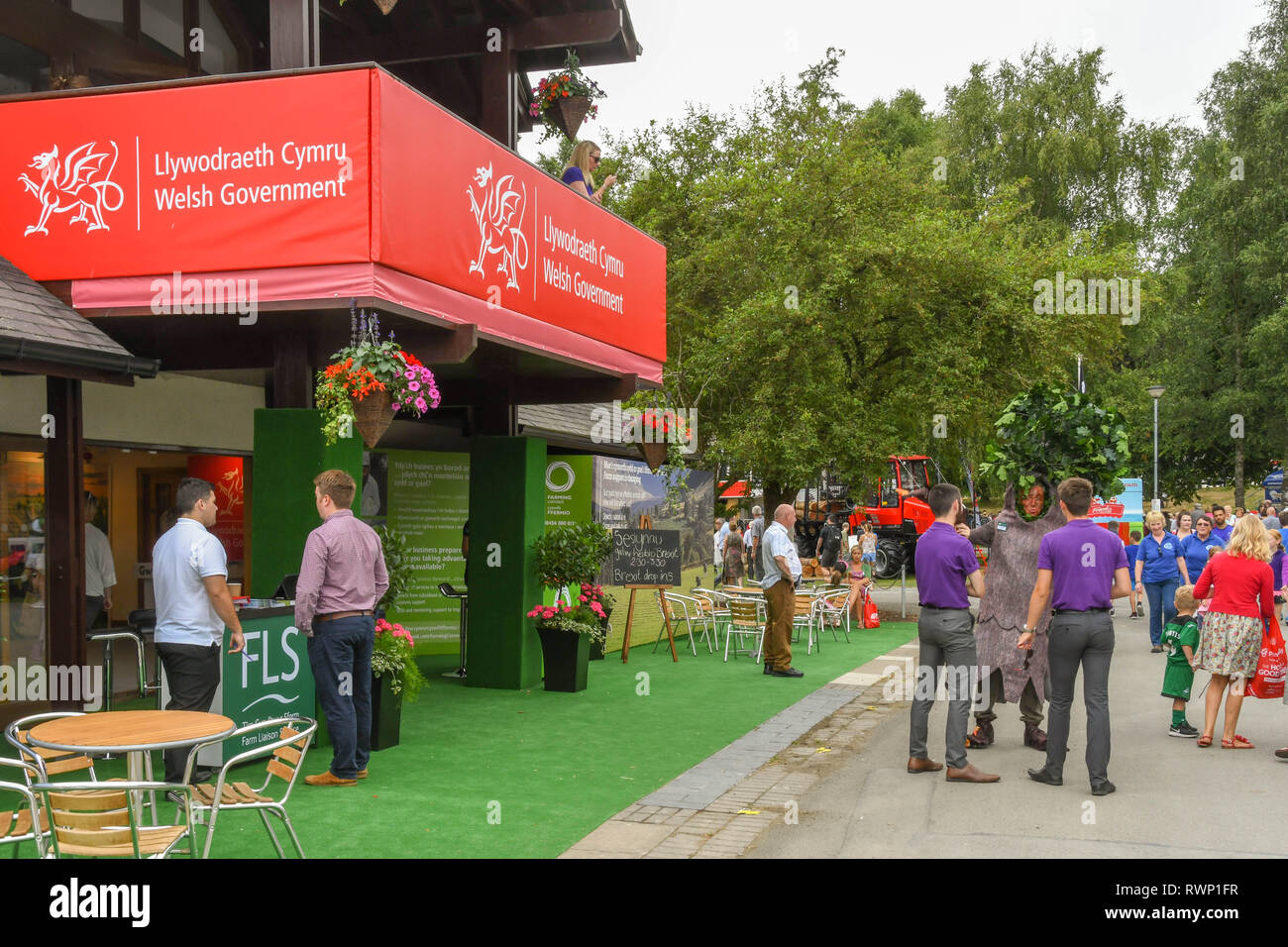 BUILTH WELLS, WALES - JULY 2018: Entrance to the Welsh Government's pavilion on the showground at Builth Wells. - Stock Image
