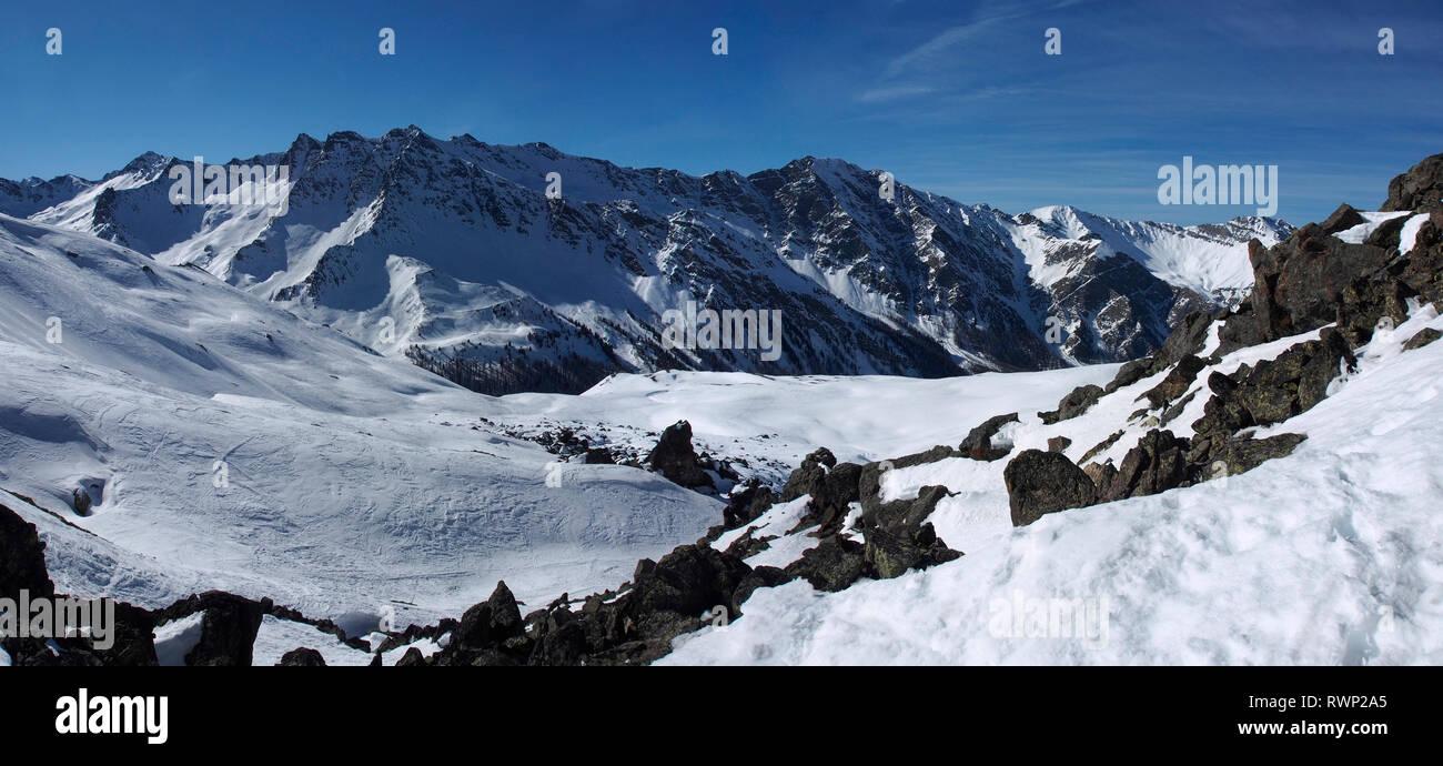 View south from Col de Longet, Parc regional du Queyras, French Alps - Stock Image
